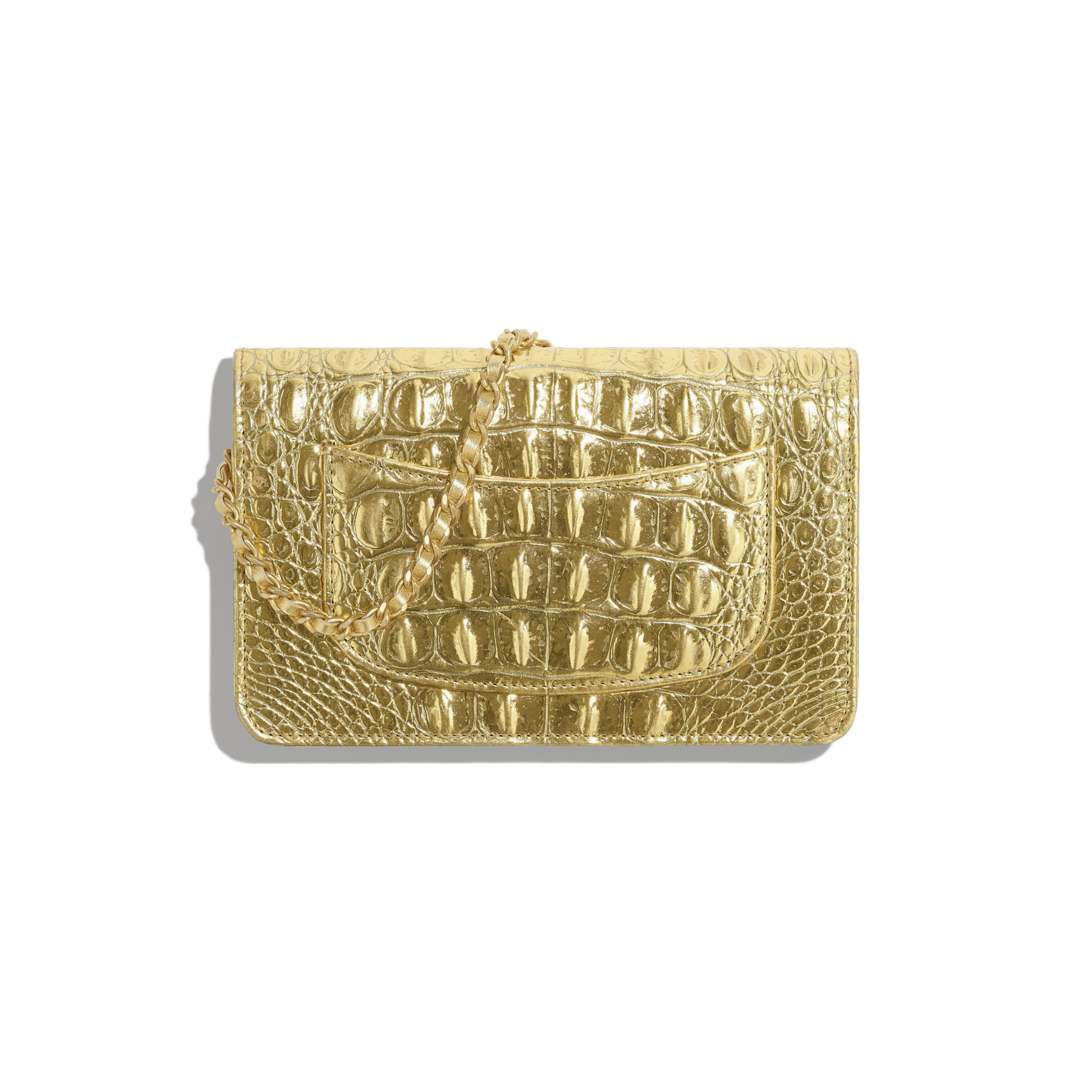 Classic Wallet on Chain - Gold - Metallic Crocodile Embossed Calfskin & Gold Metal - Alternative view - see standard sized version
