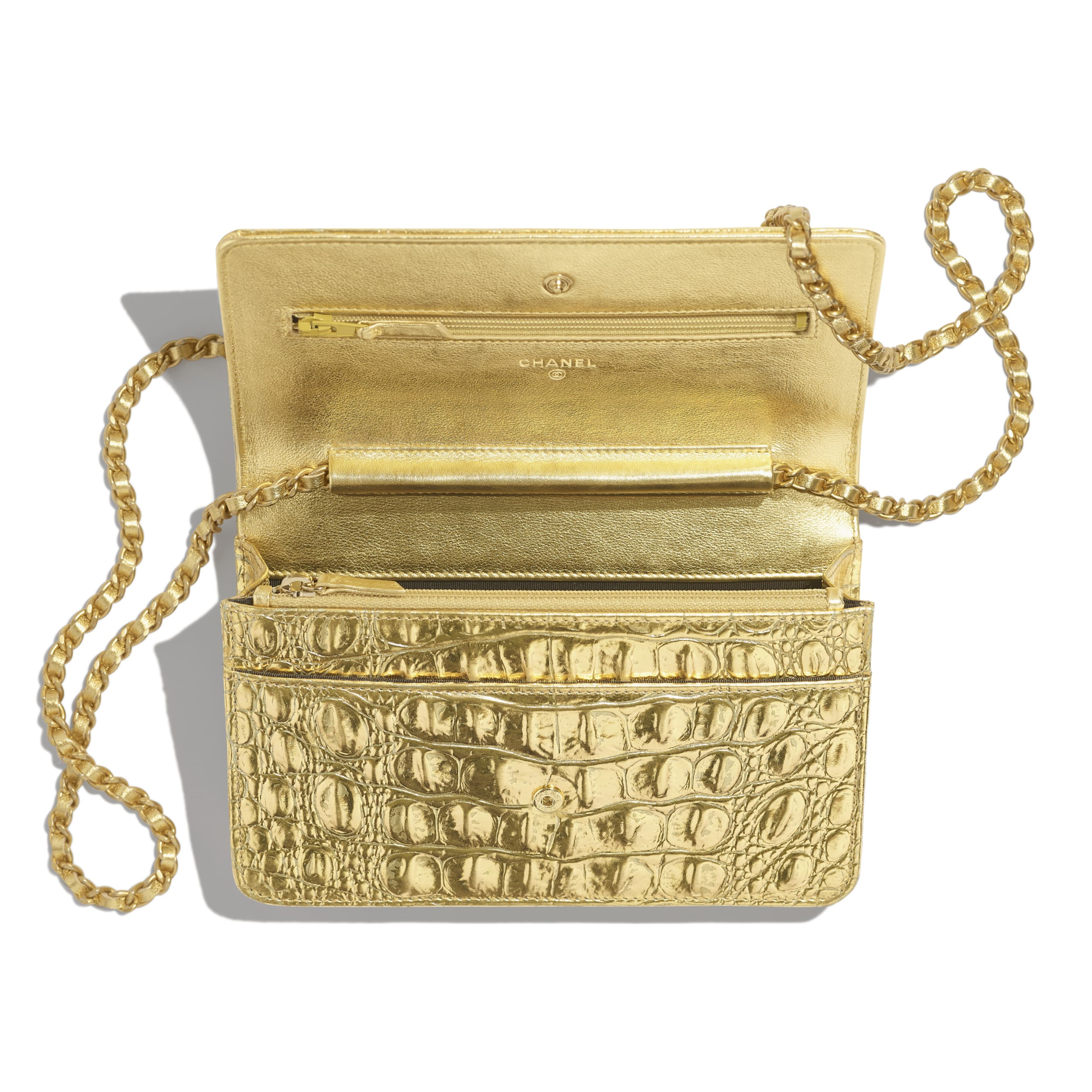 Classic Wallet on Chain - Gold - Metallic Crocodile Embossed Calfskin & Gold Metal - Other view - see standard sized version