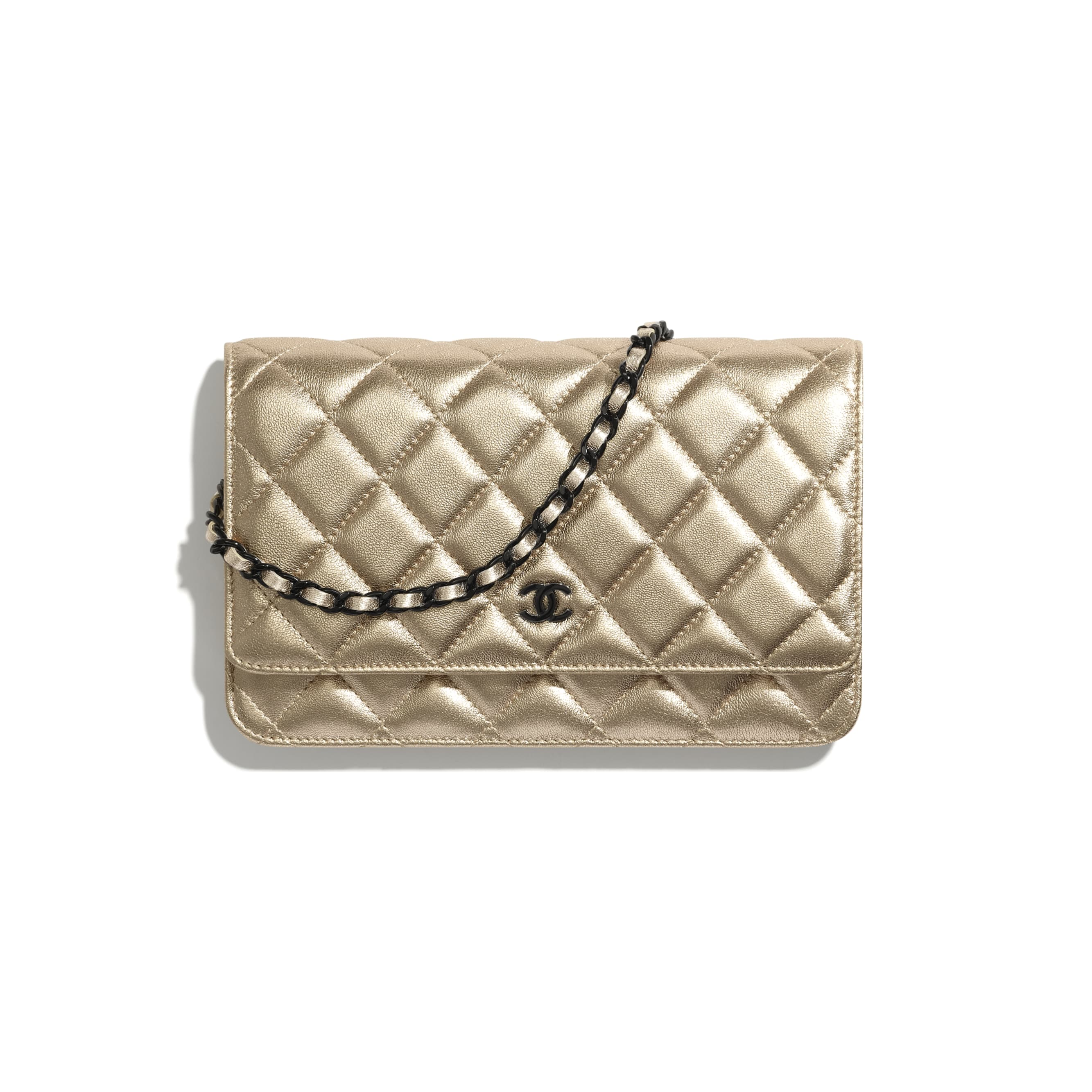 Classic Wallet On Chain - Gold - Metallic Lambskin & Black Metal - CHANEL - Default view - see standard sized version