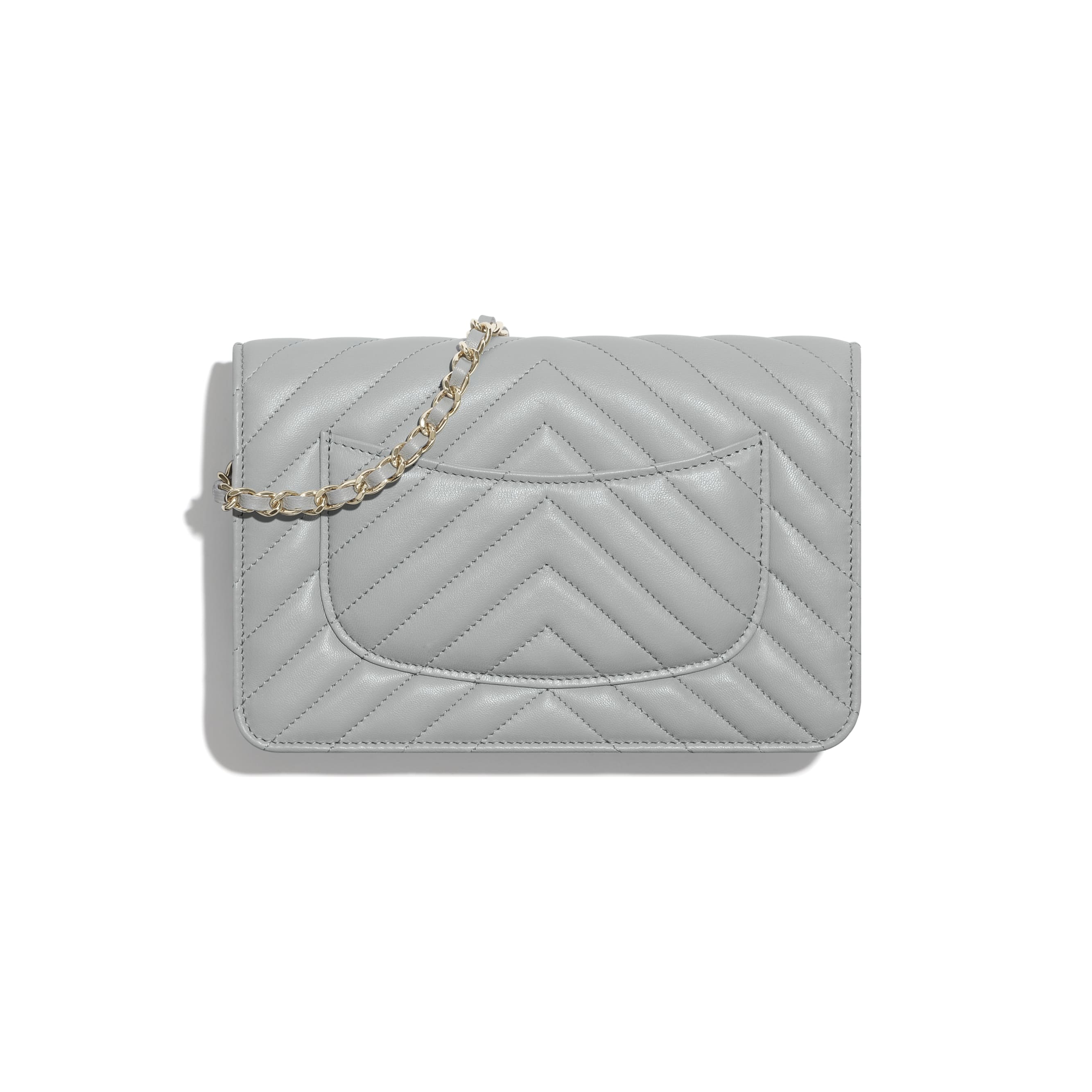 Classic Wallet On Chain - Light Grey - Lambskin - CHANEL - Alternative view - see standard sized version