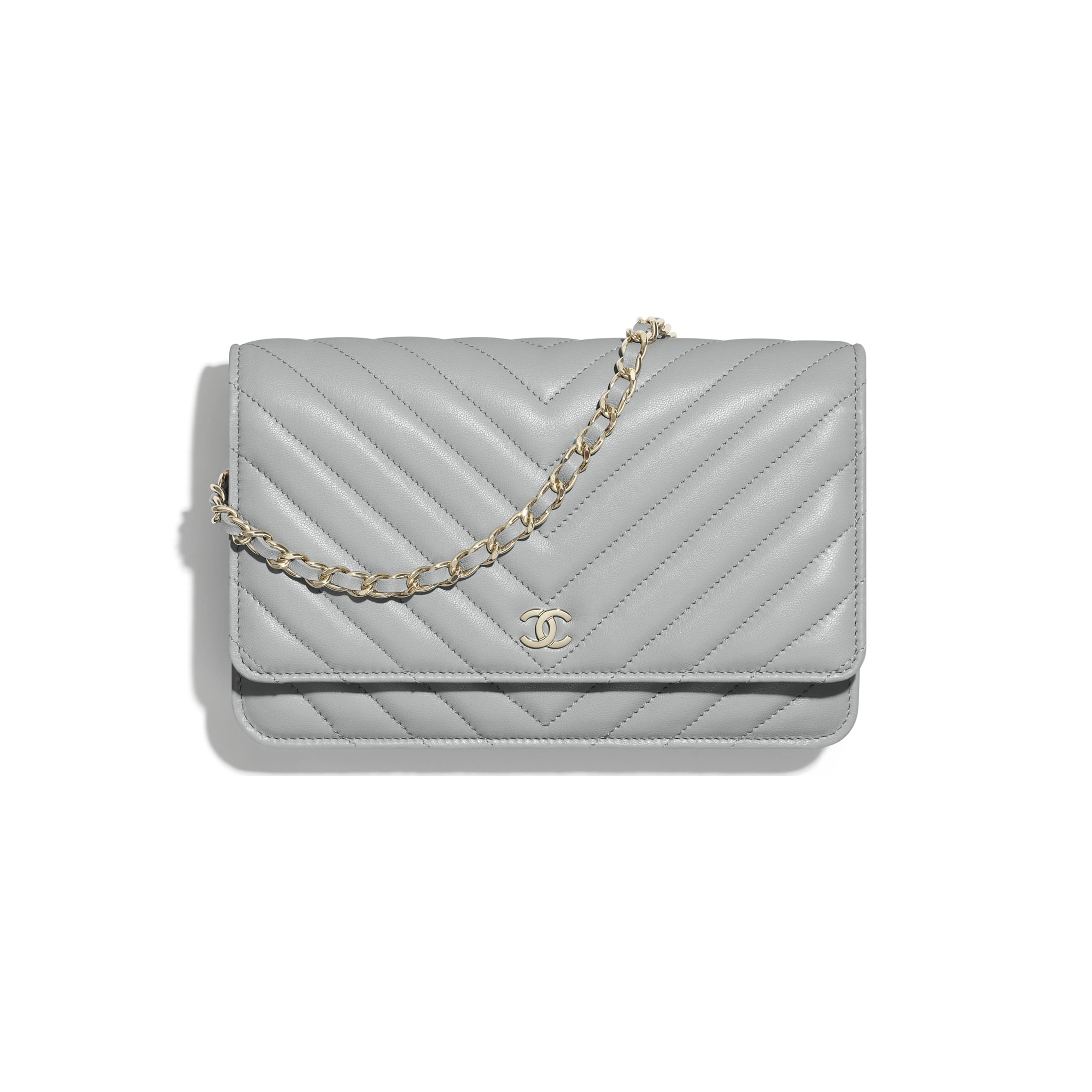 Classic Wallet On Chain - Light Grey - Lambskin - CHANEL - Default view - see standard sized version
