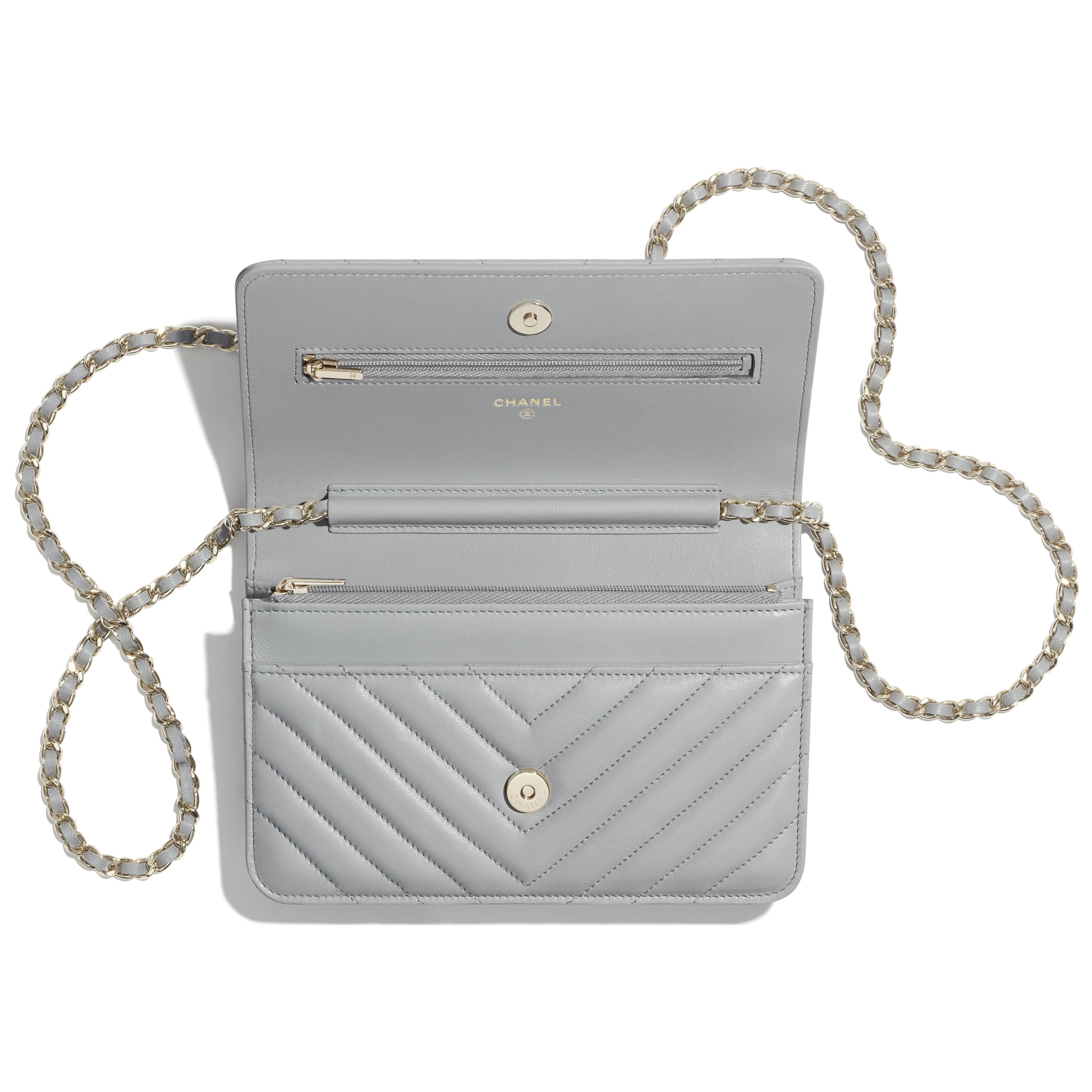 Classic Wallet On Chain - Light Grey - Lambskin - CHANEL - Other view - see standard sized version