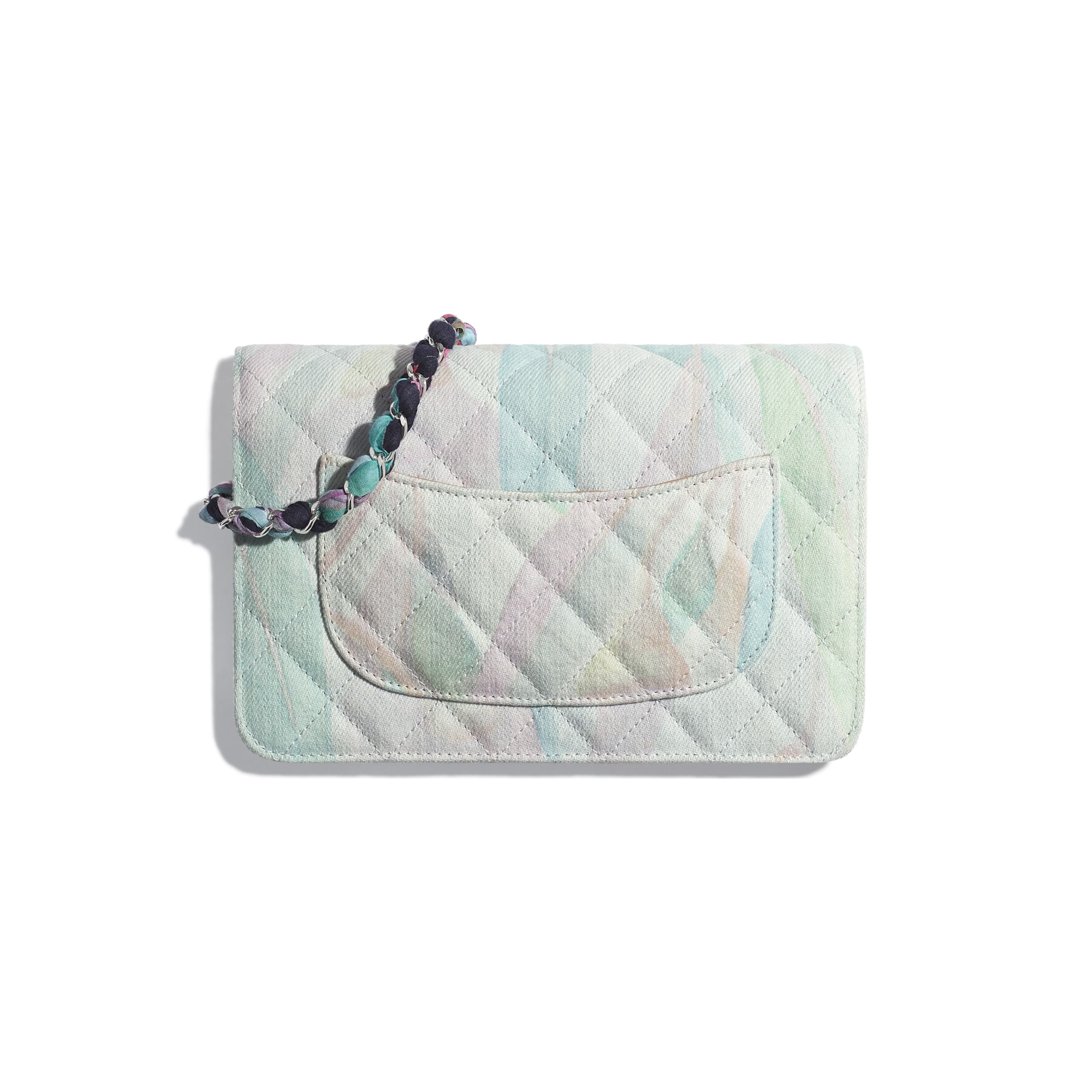 Classic Wallet on Chain - Multicolor - Denim & Silver-Tone Metal - CHANEL - Alternative view - see standard sized version