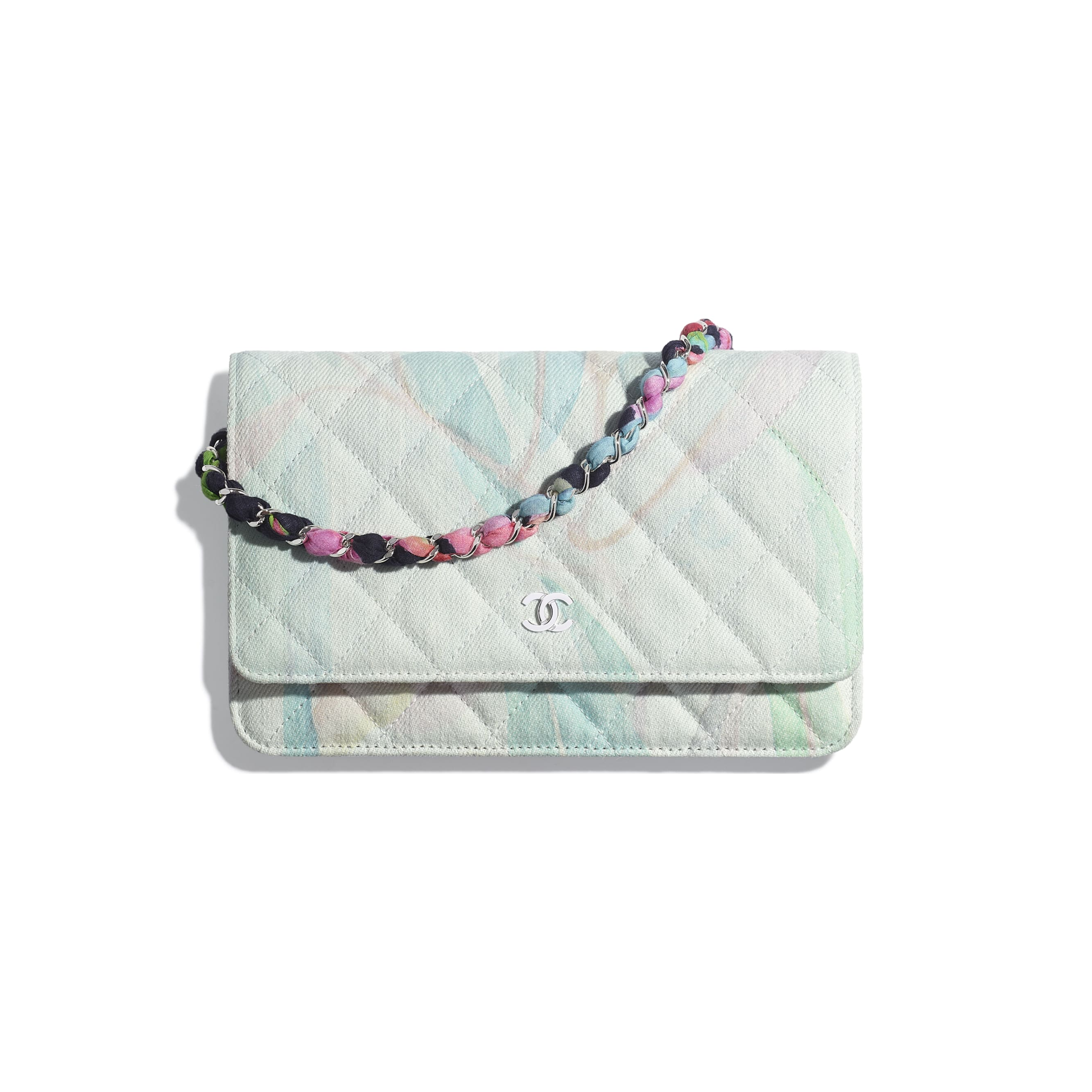 Classic Wallet on Chain - Multicolor - Denim & Silver-Tone Metal - CHANEL - Default view - see standard sized version