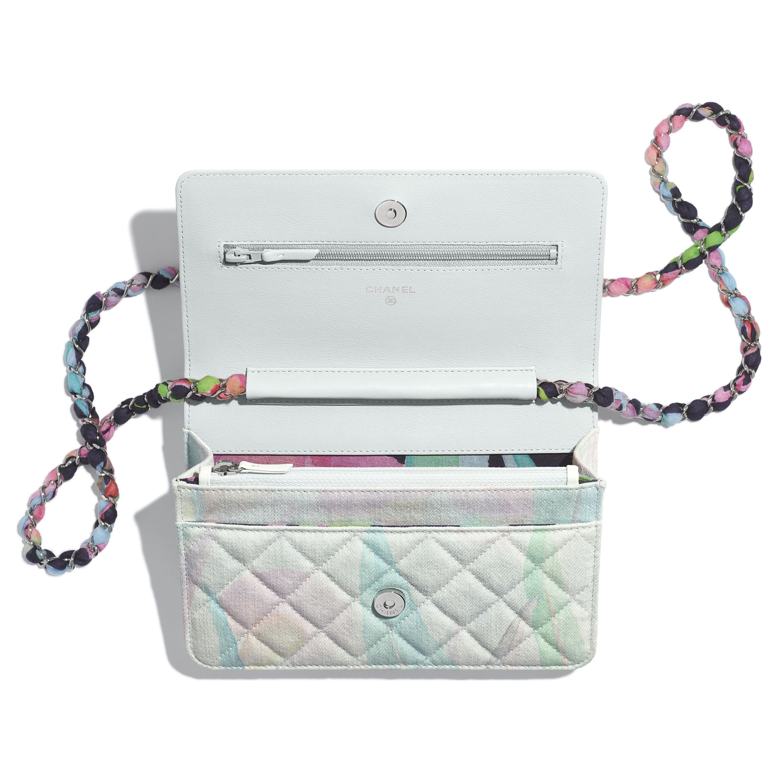 Classic Wallet on Chain - Multicolor - Denim & Silver-Tone Metal - CHANEL - Other view - see standard sized version