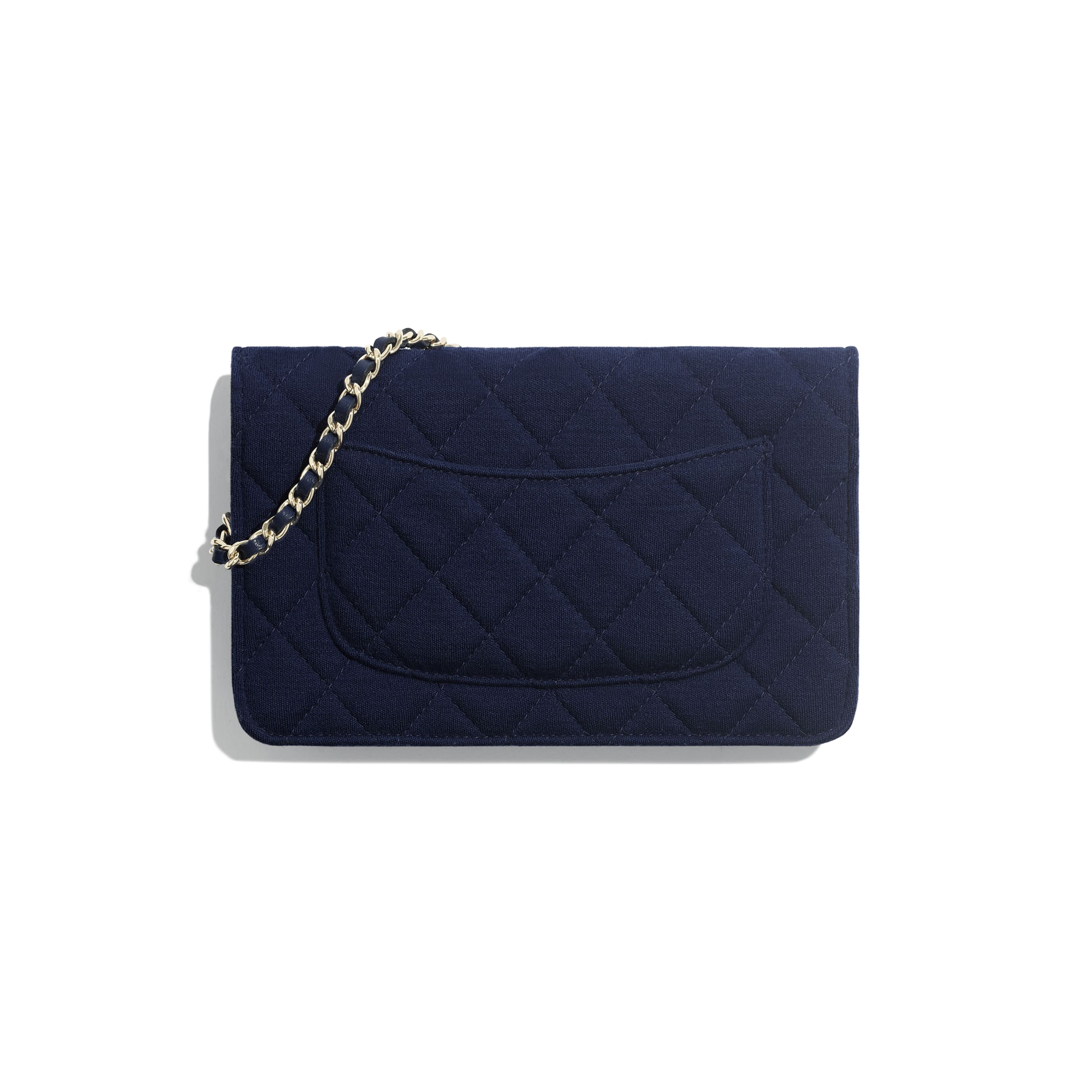 Classic Wallet On Chain - Navy Blue - Jersey & Gold Metal - Alternative view - see standard sized version