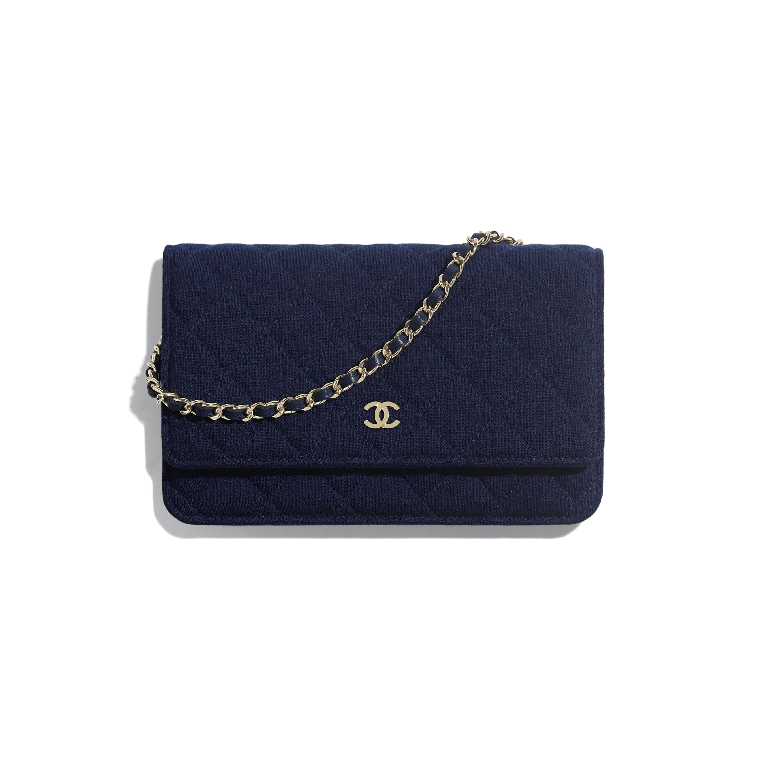 Classic Wallet On Chain - Navy Blue - Jersey & Gold Metal - Default view - see standard sized version