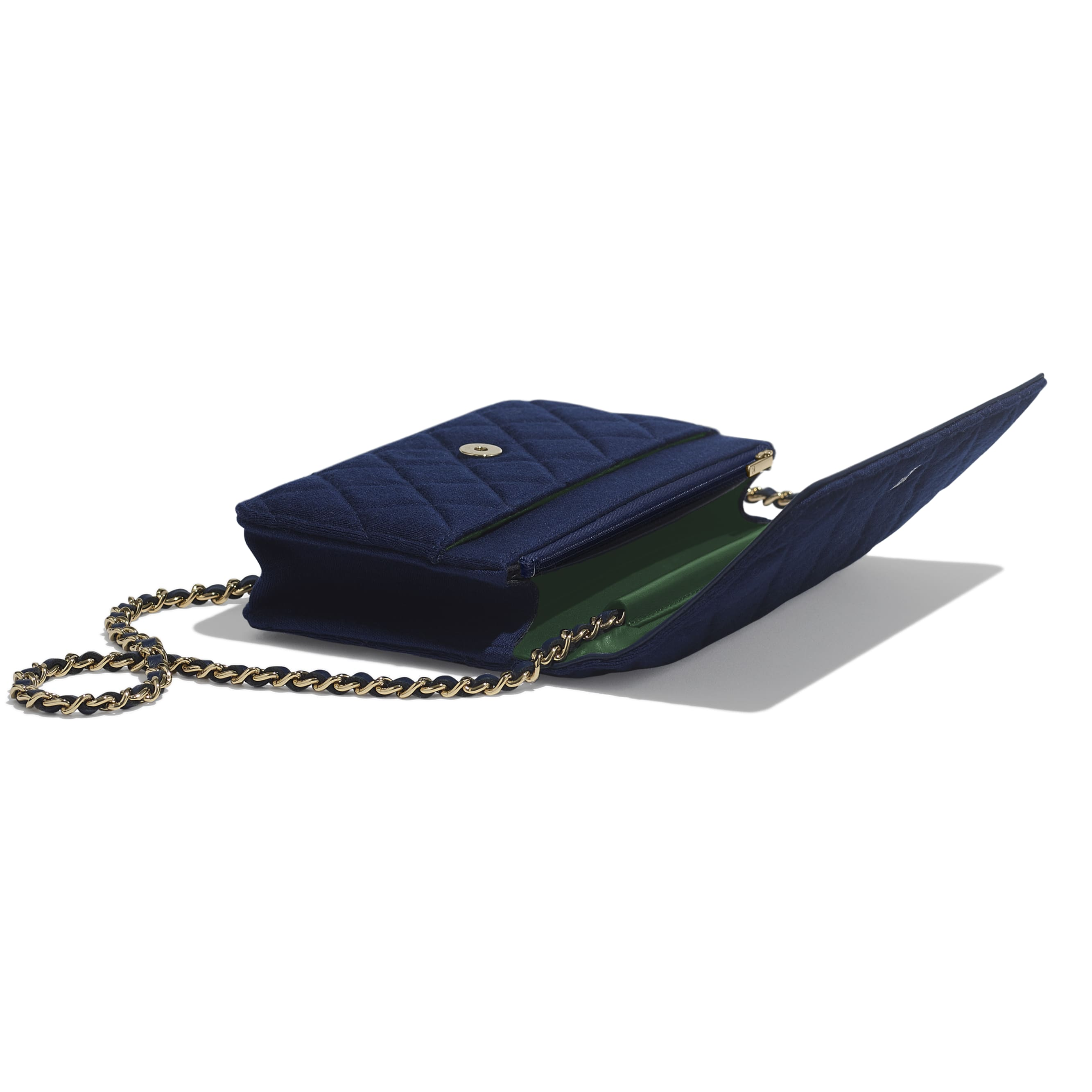 Classic Wallet On Chain - Navy Blue - Jersey & Gold Metal - Extra view - see standard sized version
