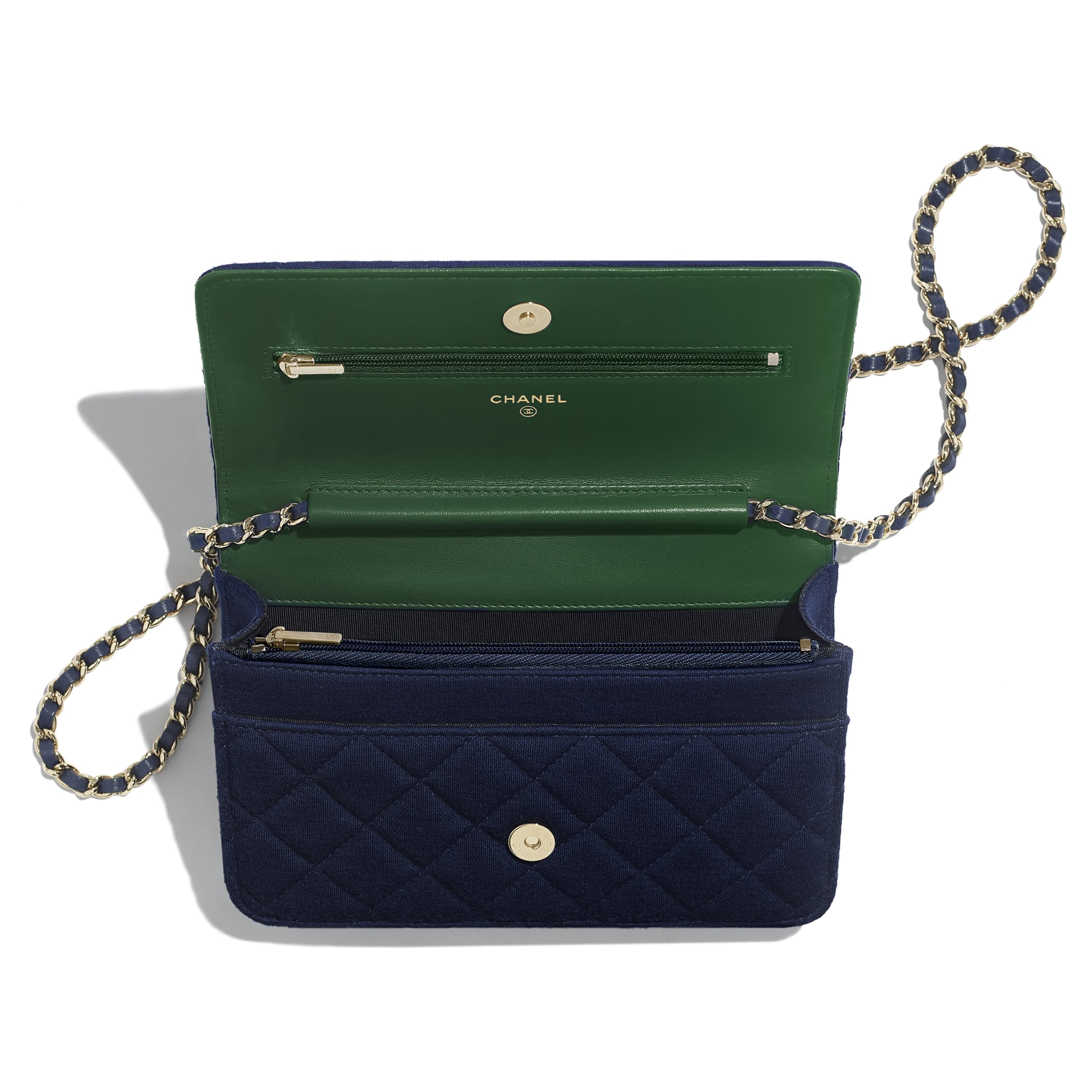 Classic Wallet On Chain - Navy Blue - Jersey & Gold Metal - Other view - see standard sized version