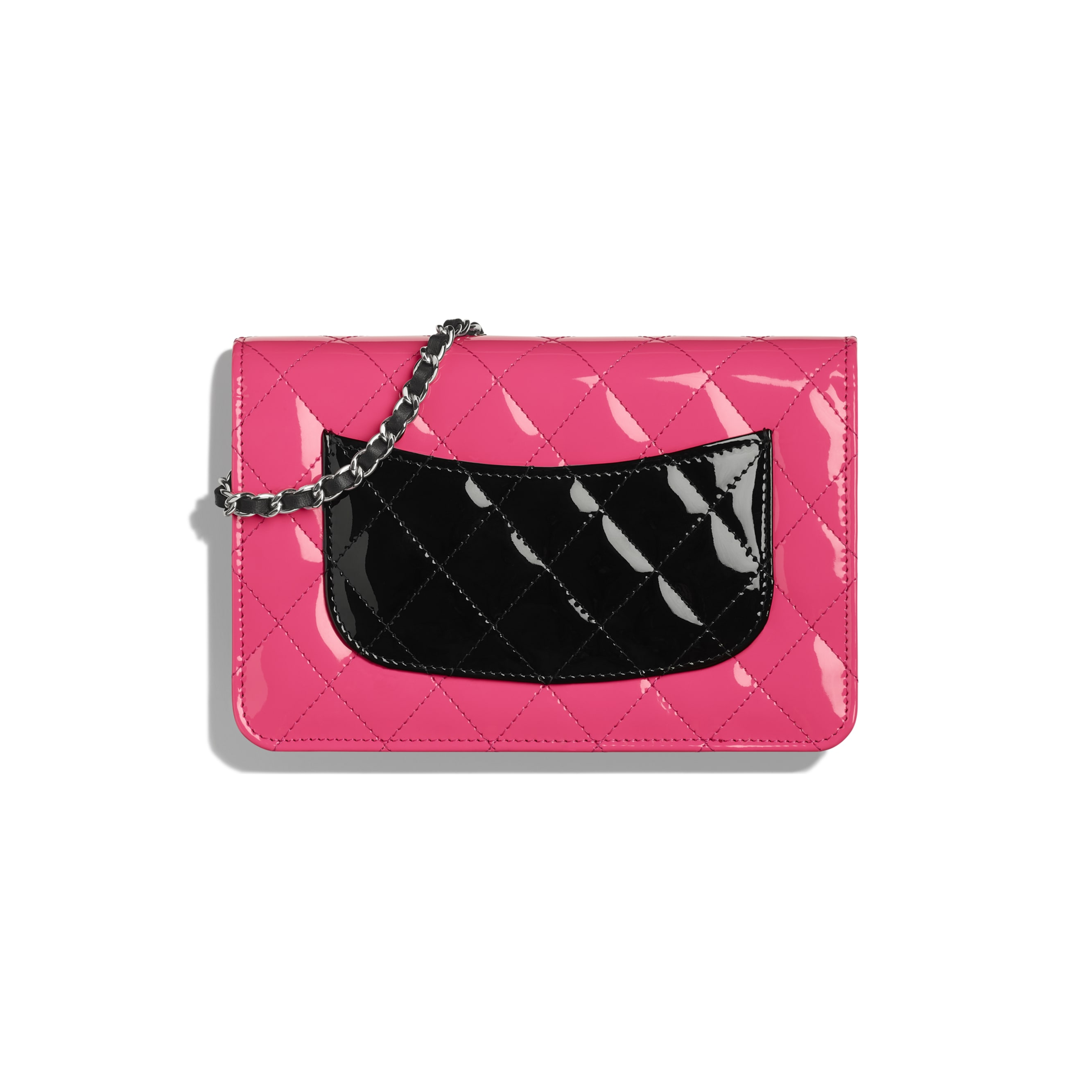 Classic Wallet on Chain - Pink & Black - Patent Calfskin & Silver-Tone Metal - CHANEL - Alternative view - see standard sized version