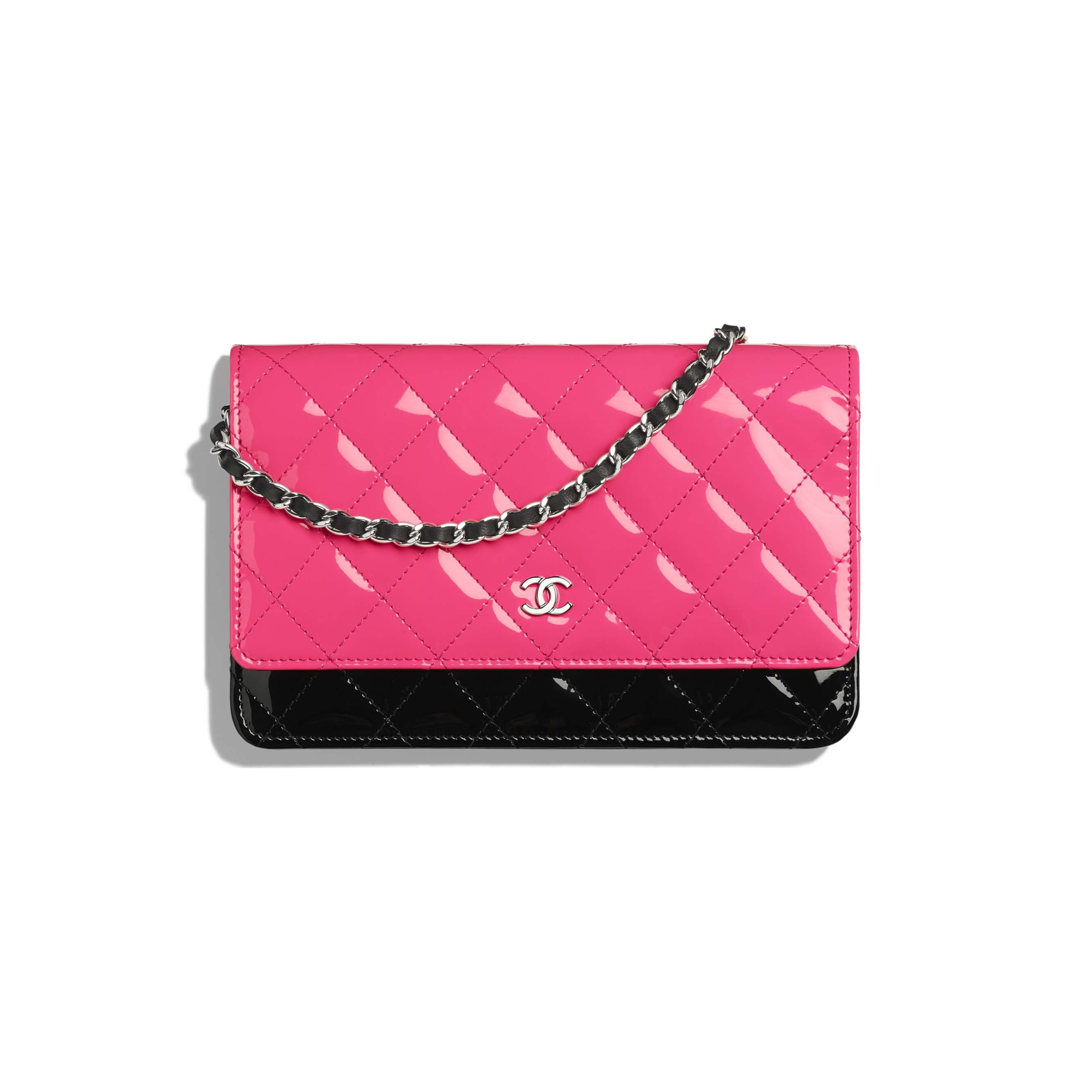 Classic Wallet on Chain - Pink & Black - Patent Calfskin & Silver-Tone Metal - CHANEL - Default view - see standard sized version