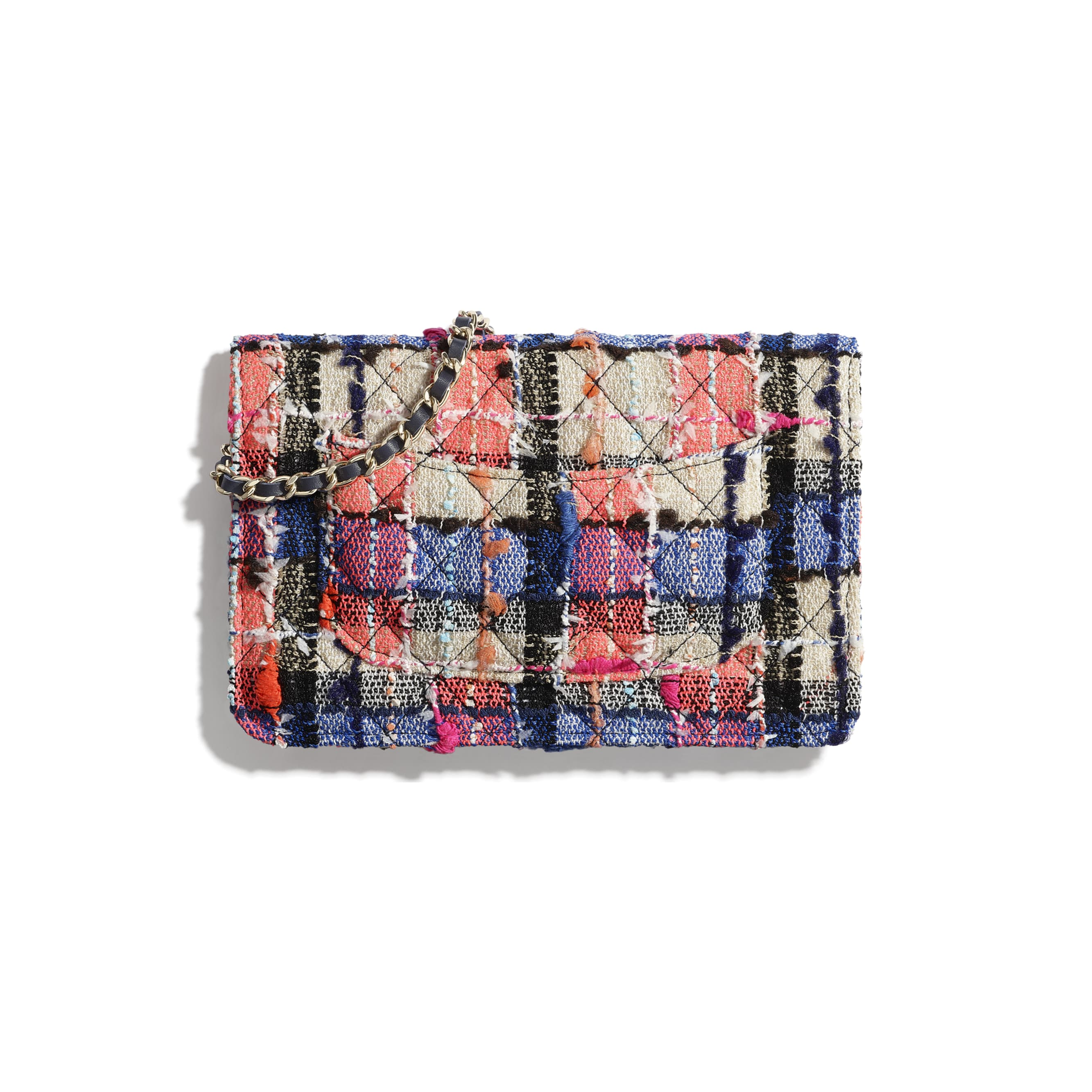 Classic Wallet on Chain - Pink, Blue, Beige & Orange - Tweed & Gold-Tone Metal - CHANEL - Alternative view - see standard sized version