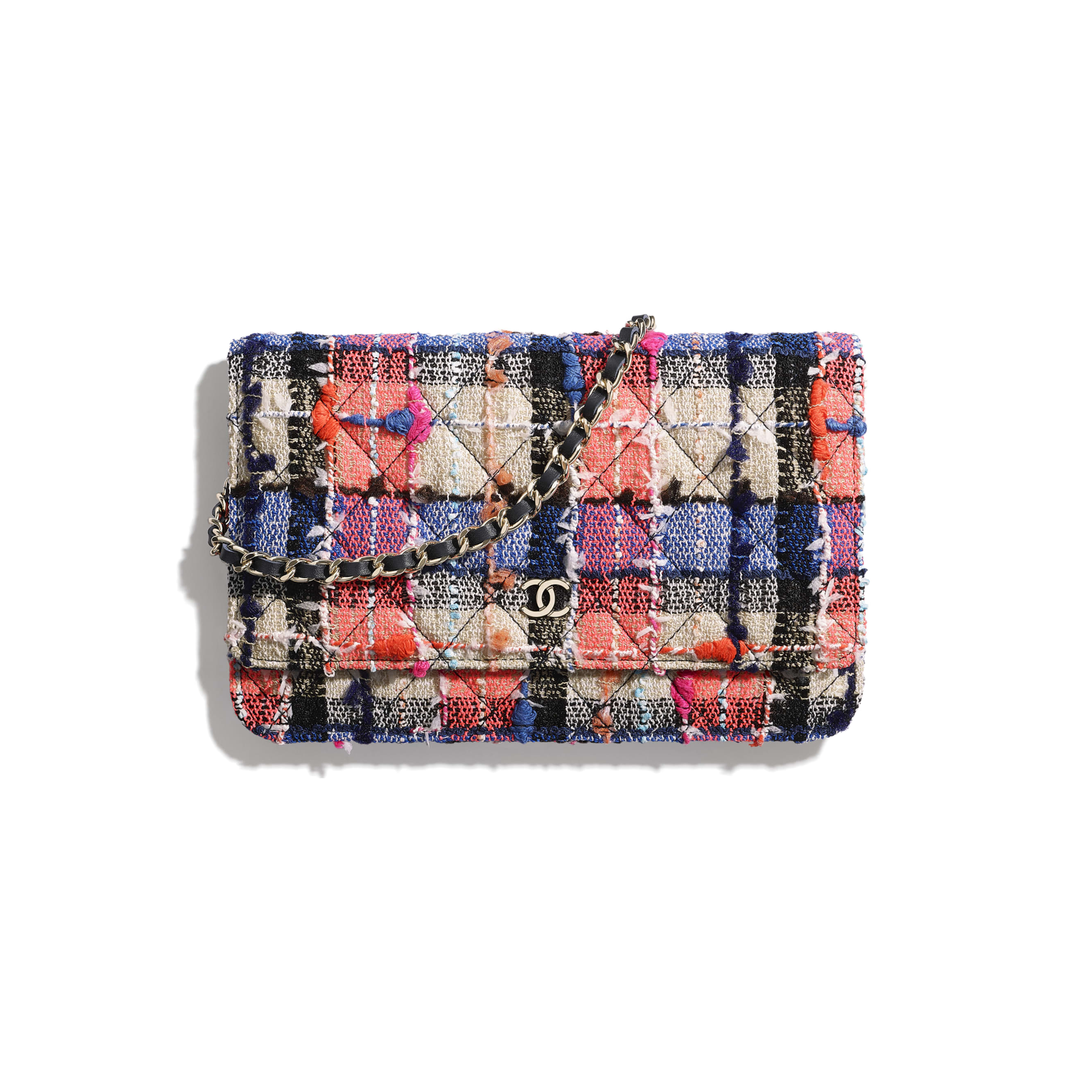Classic Wallet on Chain - Pink, Blue, Beige & Orange - Tweed & Gold-Tone Metal - CHANEL - Default view - see standard sized version