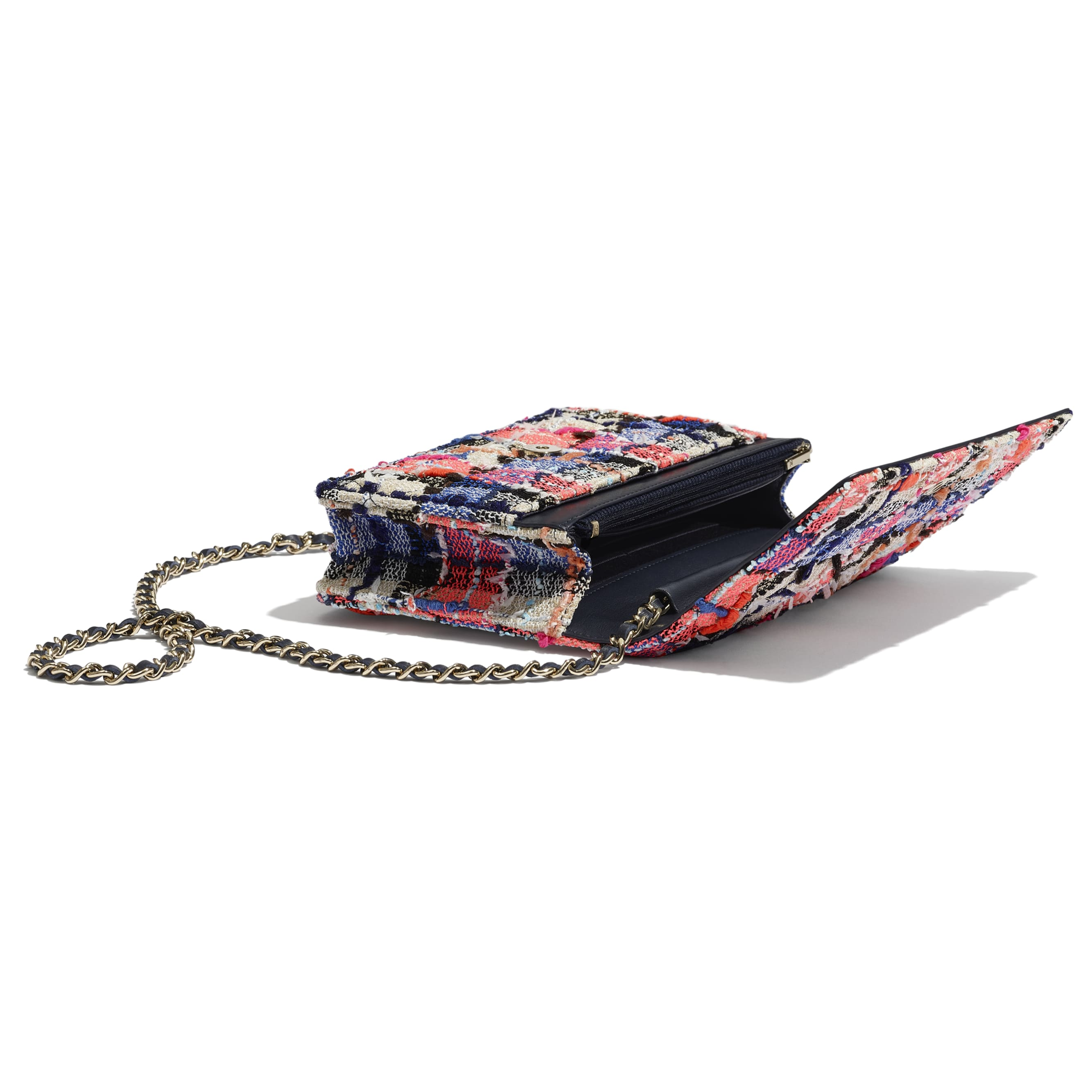 Classic Wallet on Chain - Pink, Blue, Beige & Orange - Tweed & Gold-Tone Metal - CHANEL - Extra view - see standard sized version