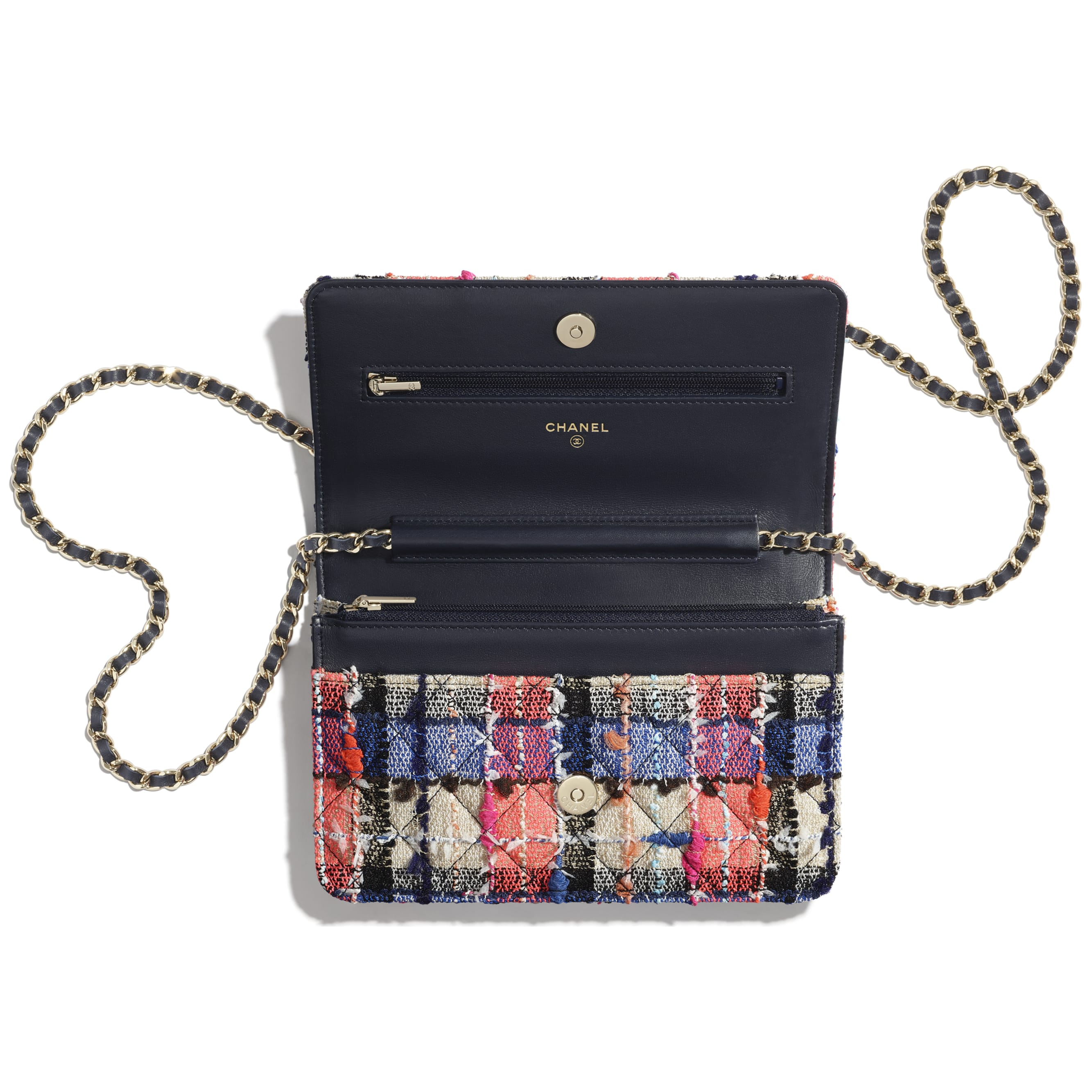 Classic Wallet on Chain - Pink, Blue, Beige & Orange - Tweed & Gold-Tone Metal - CHANEL - Other view - see standard sized version