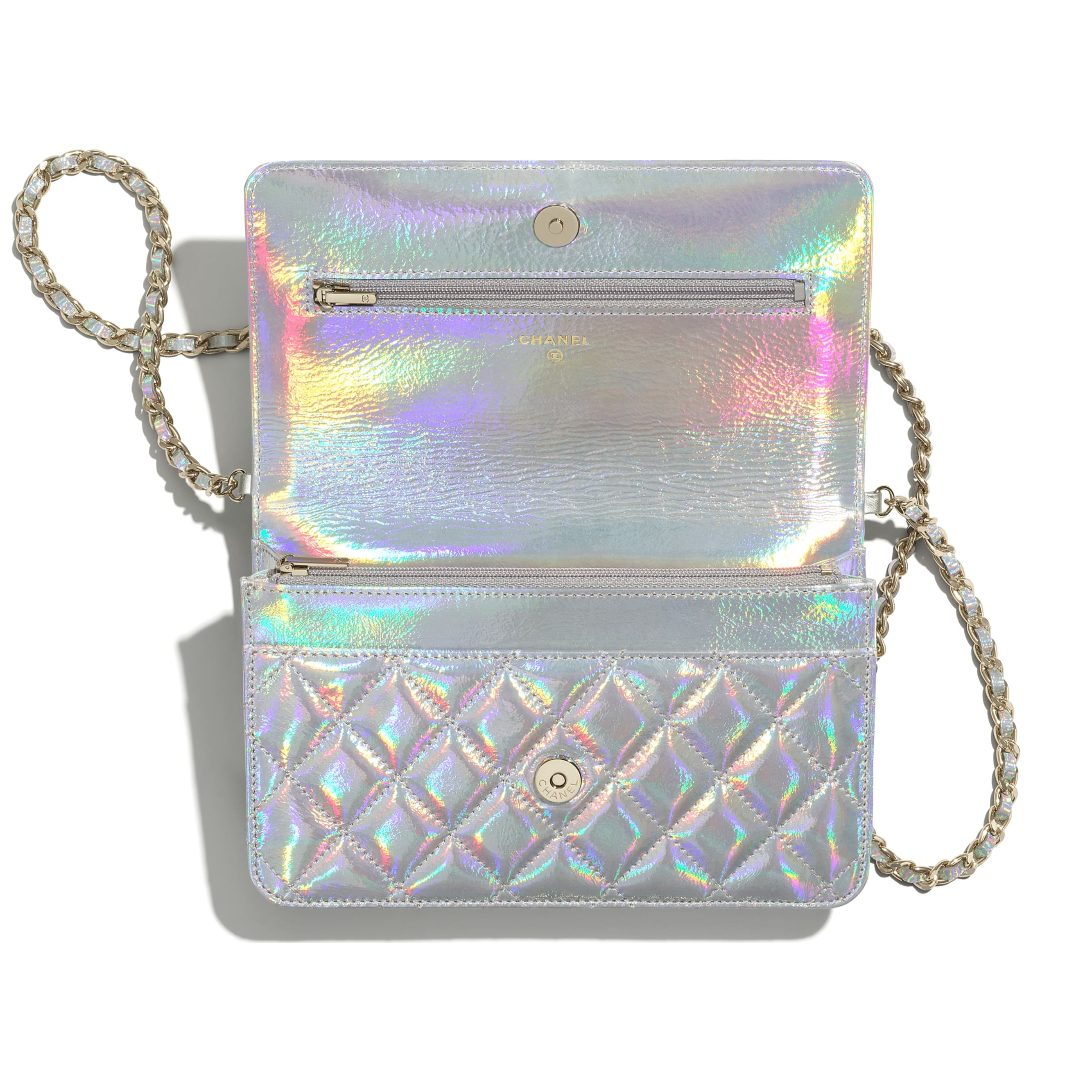 Classic Wallet On Chain - Silver - Iridescent Goatskin & Gold-Tone Metal - CHANEL - Alternative view - see standard sized version