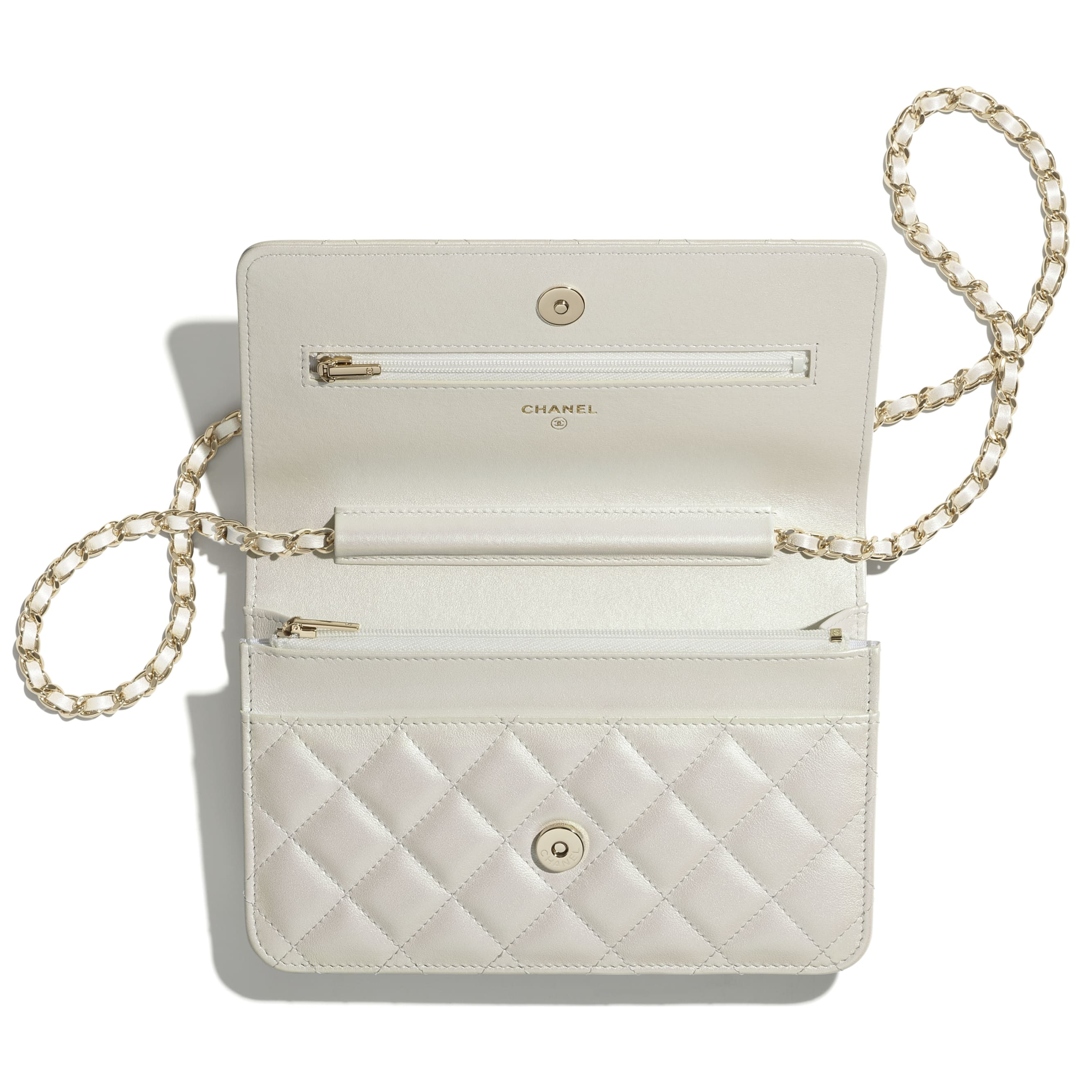 Classic Wallet On Chain - White - Iridescent Calfskin & Gold-Tone Metal - CHANEL - Alternative view - see standard sized version