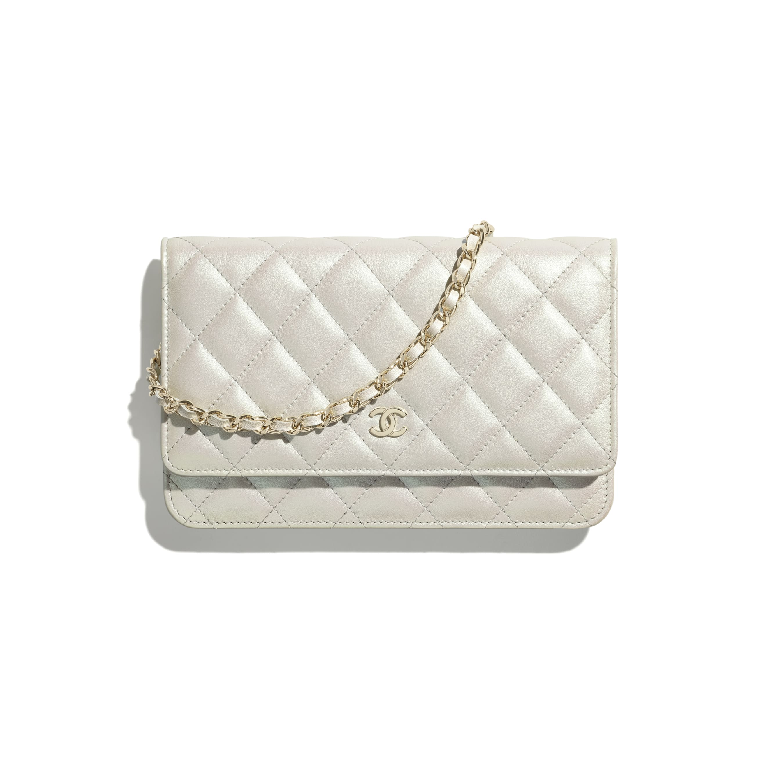 Classic Wallet On Chain - White - Iridescent Calfskin & Gold-Tone Metal - CHANEL - Default view - see standard sized version