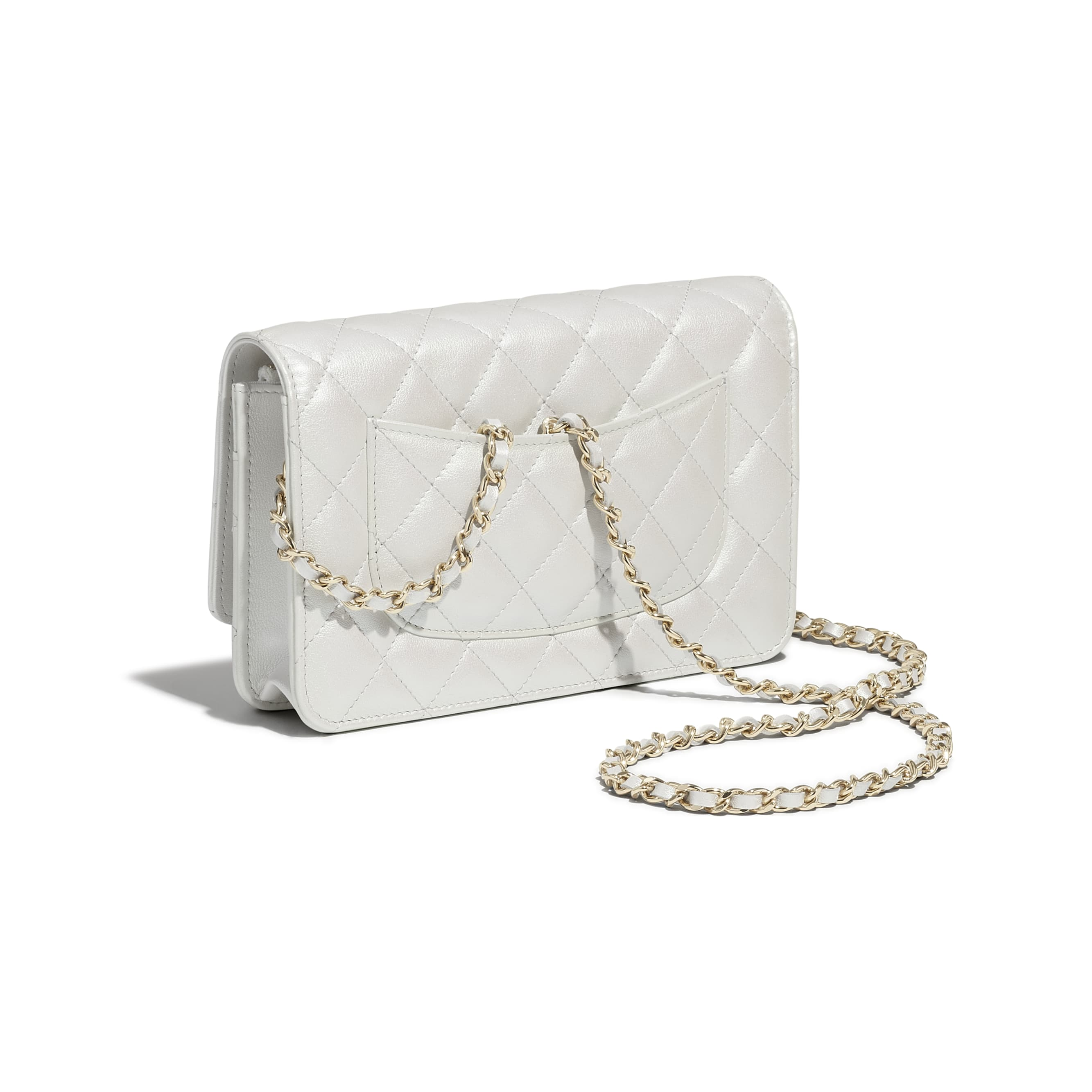 Classic Wallet On Chain - White - Iridescent Calfskin & Gold-Tone Metal - CHANEL - Extra view - see standard sized version