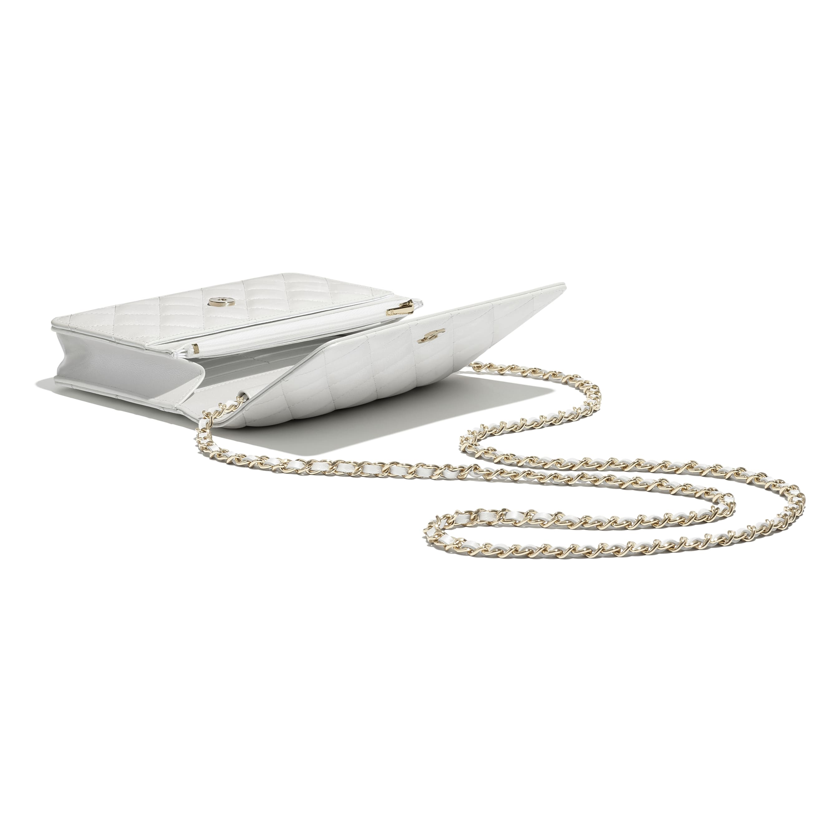 Classic Wallet On Chain - White - Iridescent Calfskin & Gold-Tone Metal - CHANEL - Other view - see standard sized version