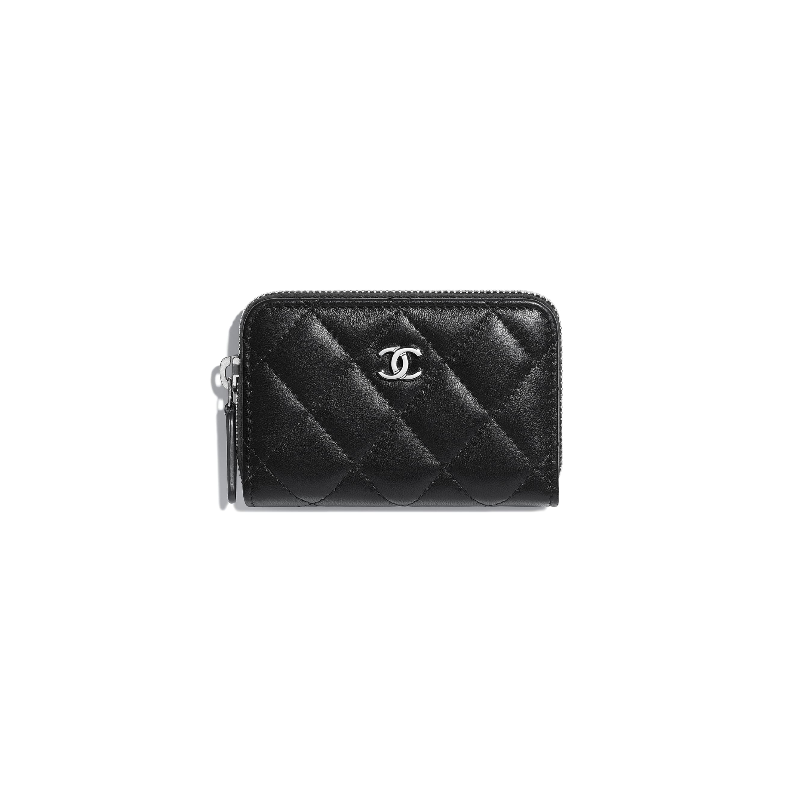 Classic Zipped Card Holder - Black - Lambskin - Default view - see standard sized version