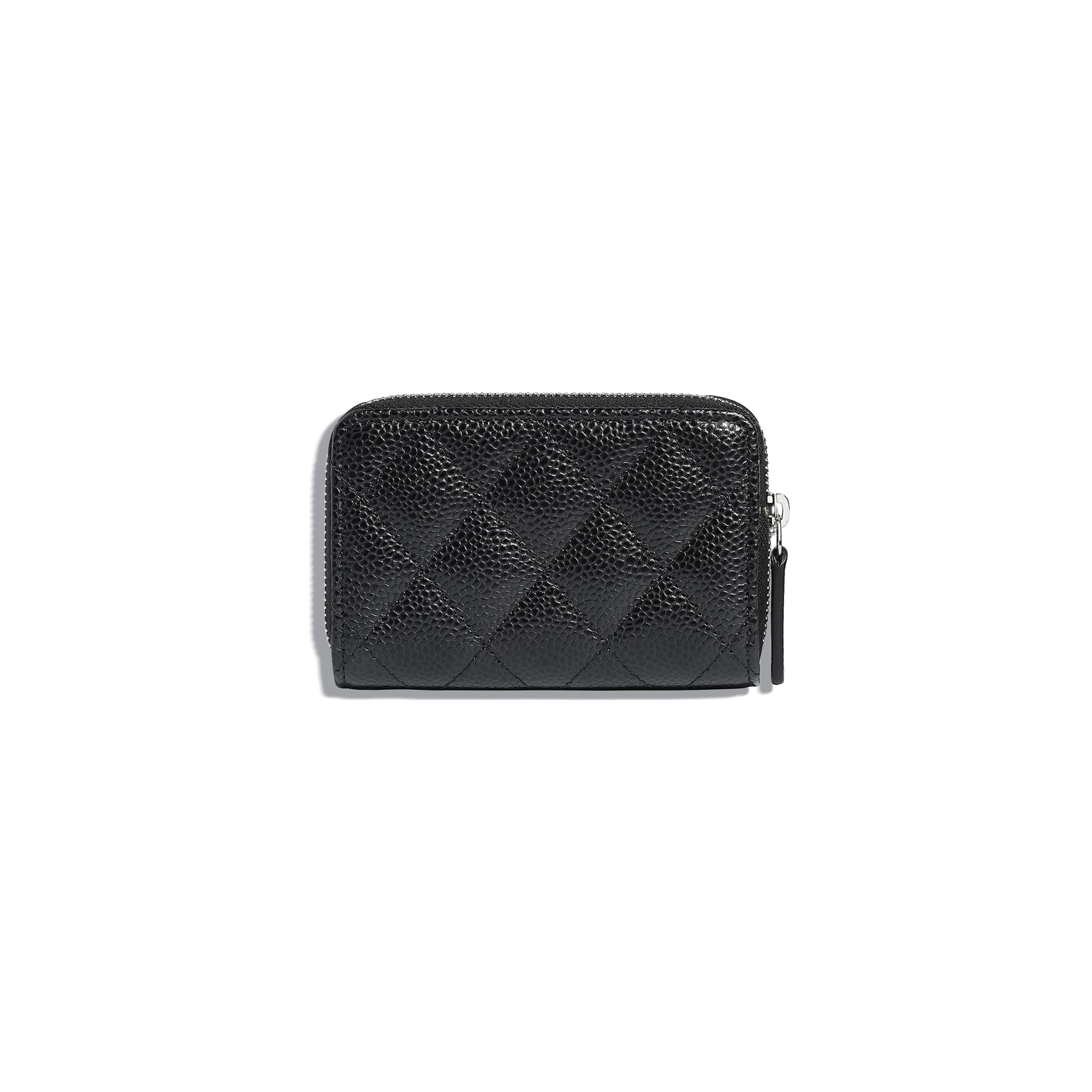 Classic Zipped Coin Purse - Black - Grained Calfskin & Silver-Tone Metal - Alternative view - see standard sized version
