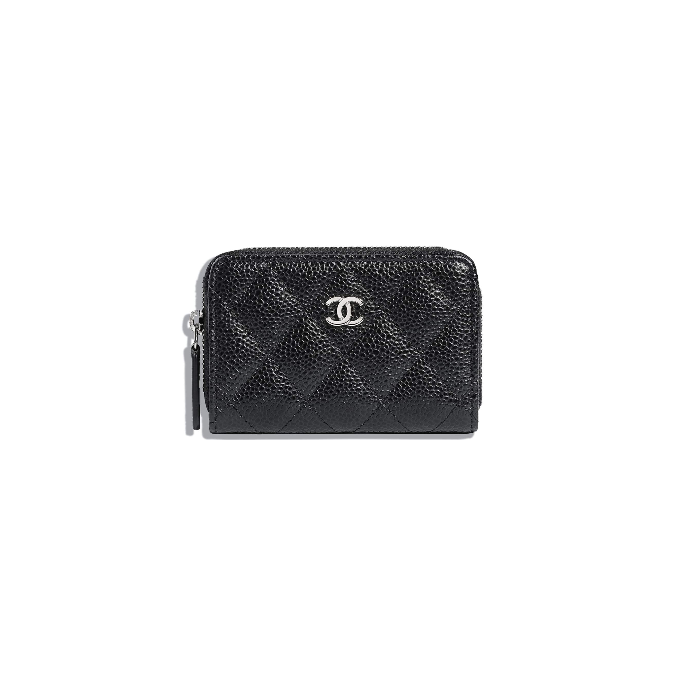 Classic Zipped Coin Purse - Black - Grained Calfskin & Silver-Tone Metal - Default view - see standard sized version