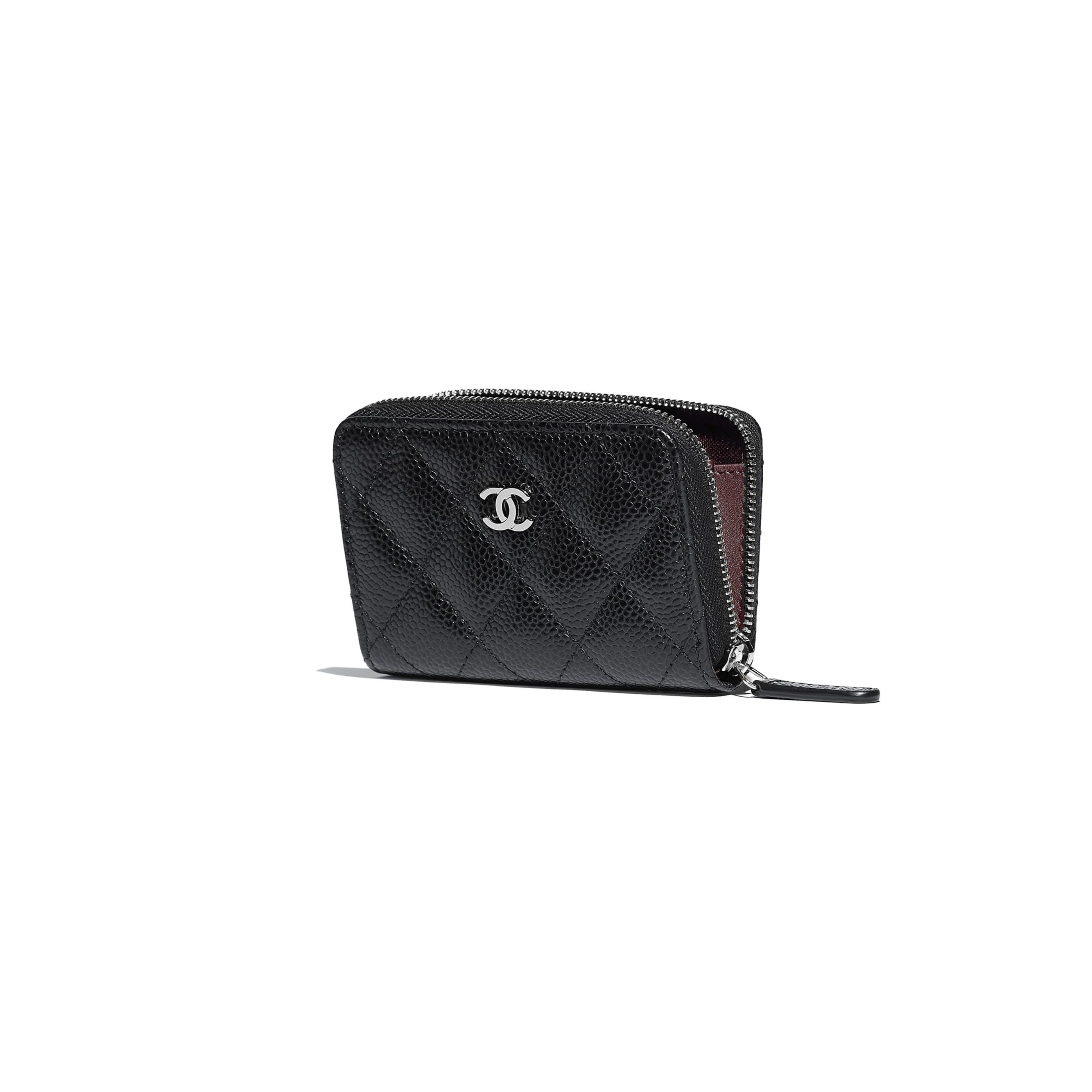 Classic Zipped Coin Purse - Black - Grained Calfskin & Silver-Tone Metal - Other view - see standard sized version