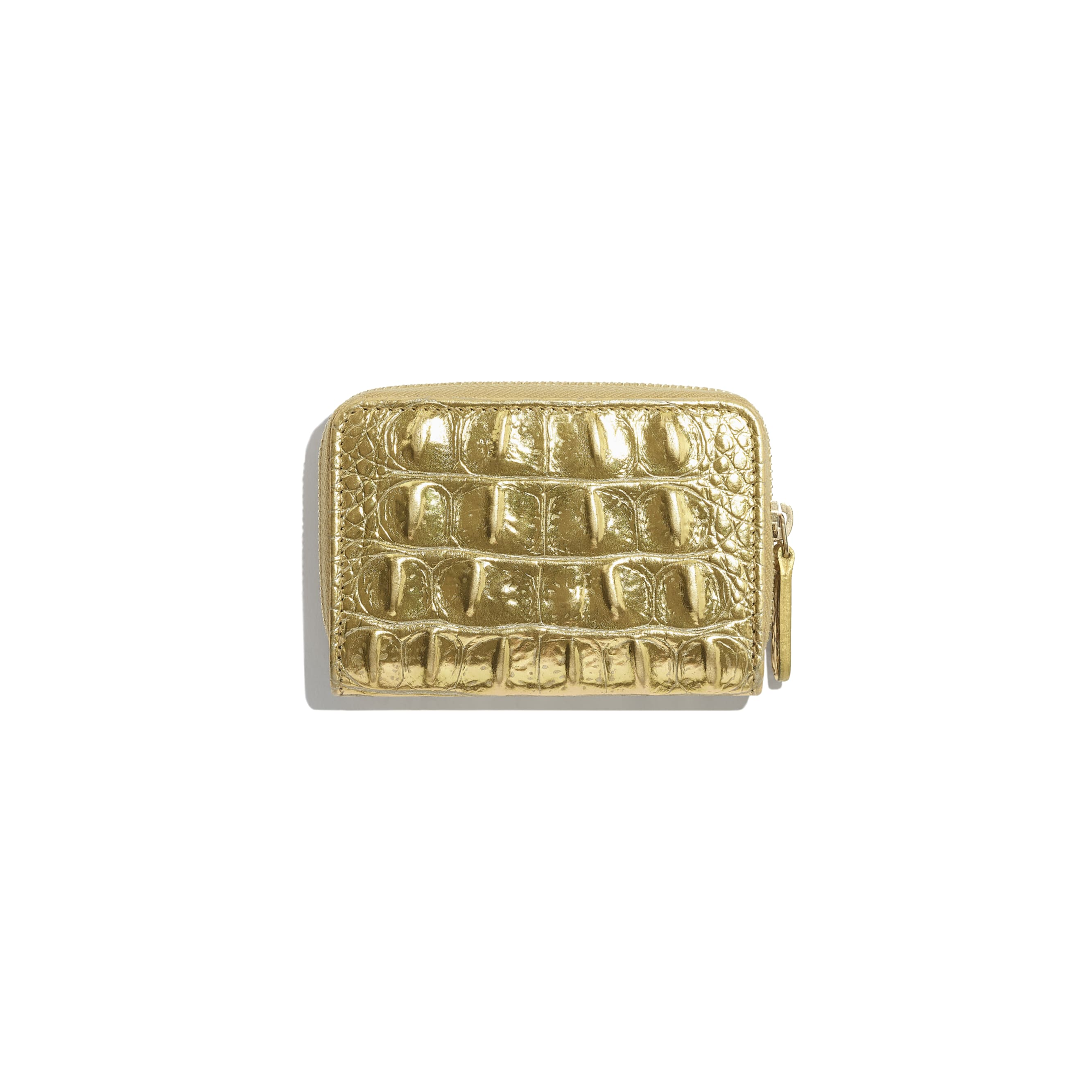 Classic Zipped Coin Purse - Gold - Metallic Crocodile Embossed Calfskin & Gold Metal - Alternative view - see standard sized version