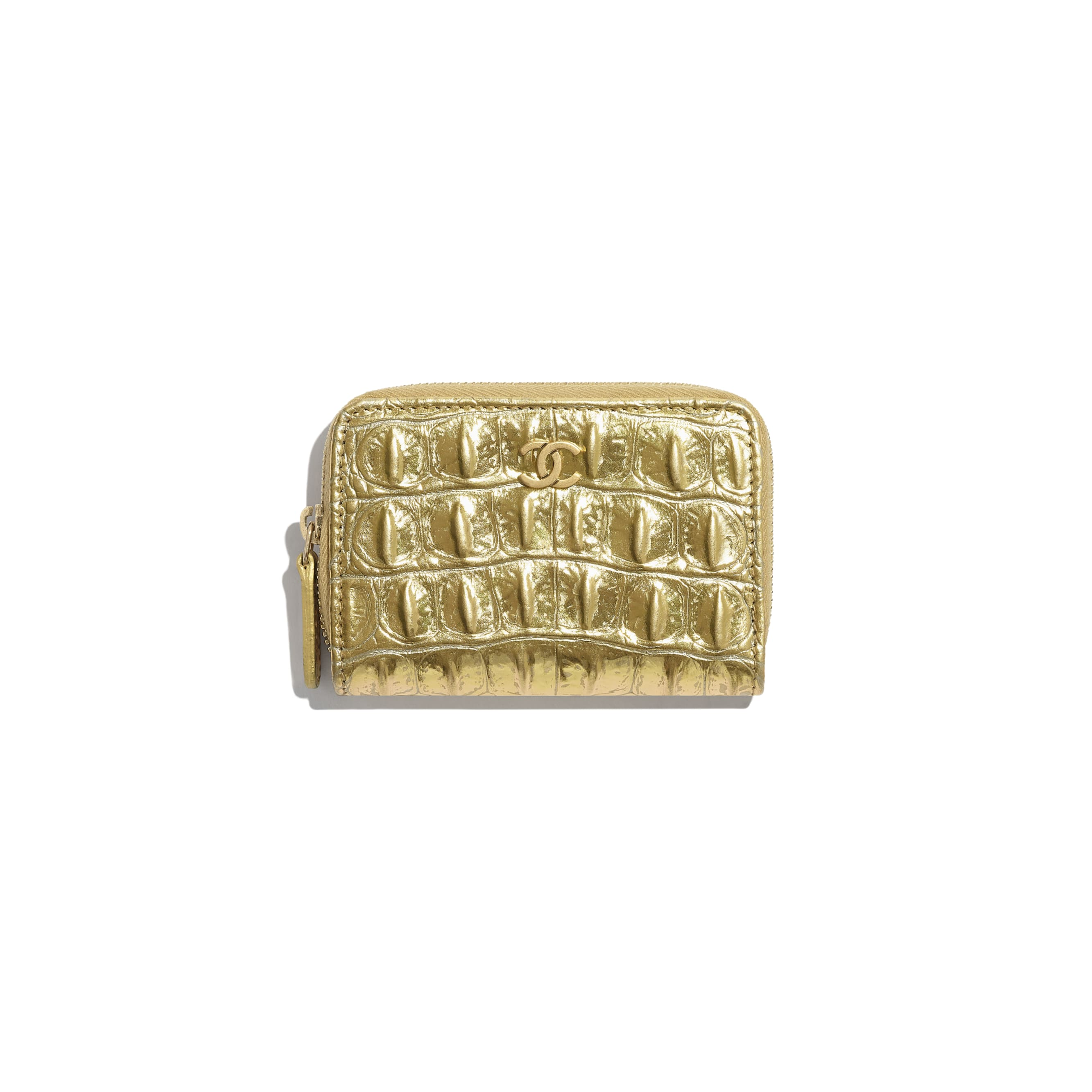 Classic Zipped Coin Purse - Gold - Metallic Crocodile Embossed Calfskin & Gold Metal - Default view - see standard sized version