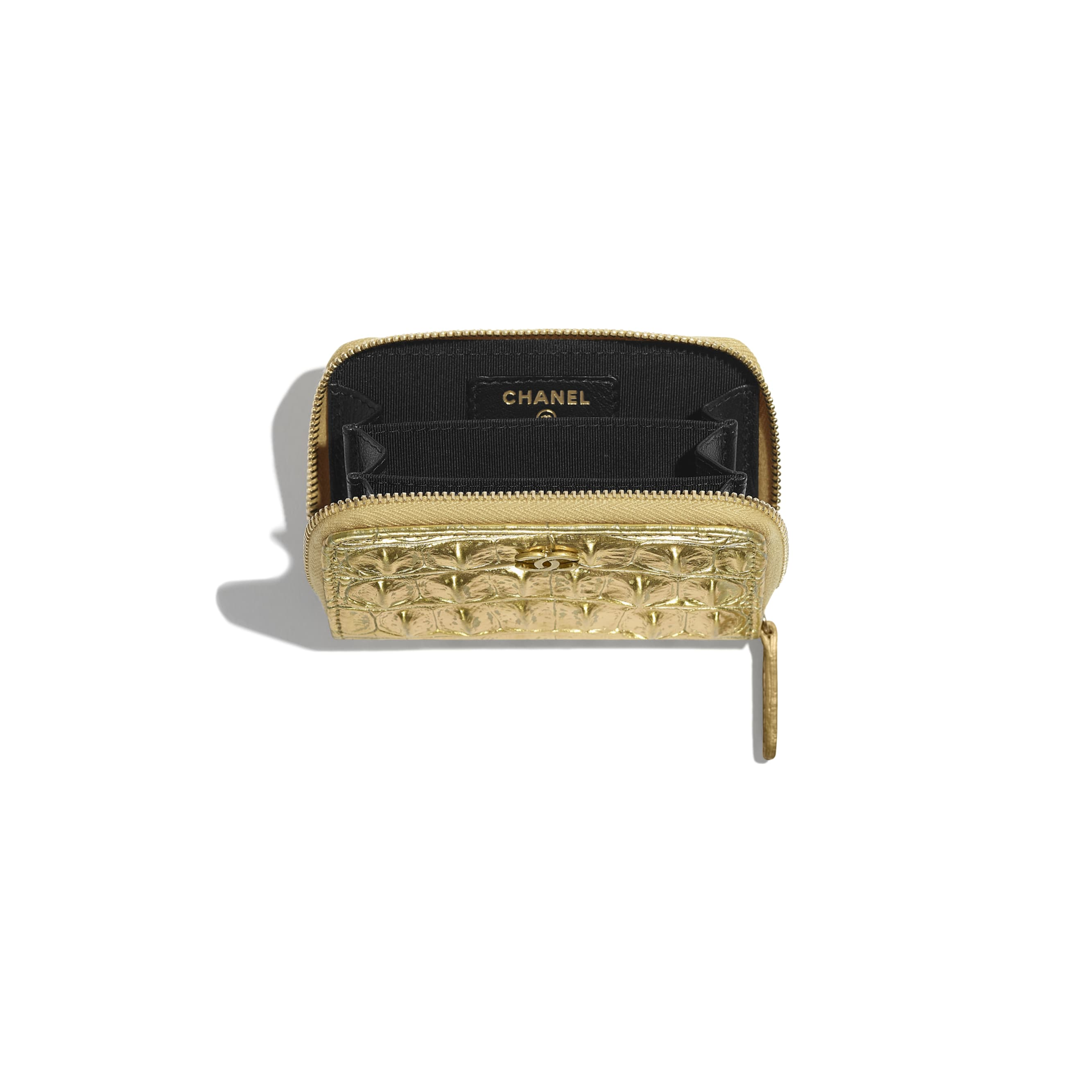 Classic Zipped Coin Purse - Gold - Metallic Crocodile Embossed Calfskin & Gold Metal - Other view - see standard sized version