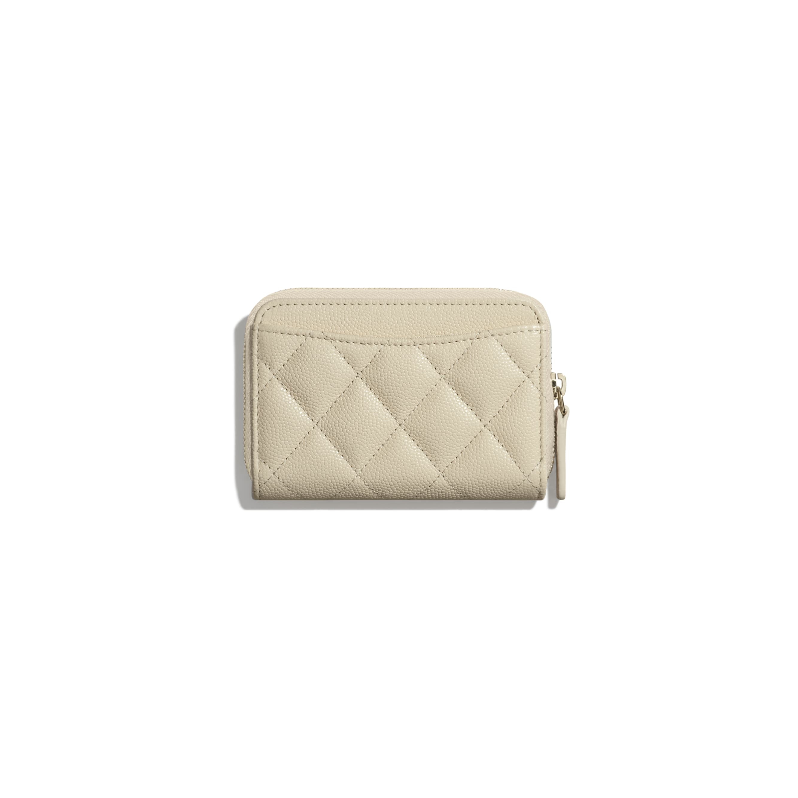 Classic Zipped Coin Purse - Light Beige - Grained Calfskin & Gold-Tone Metal - Alternative view - see standard sized version