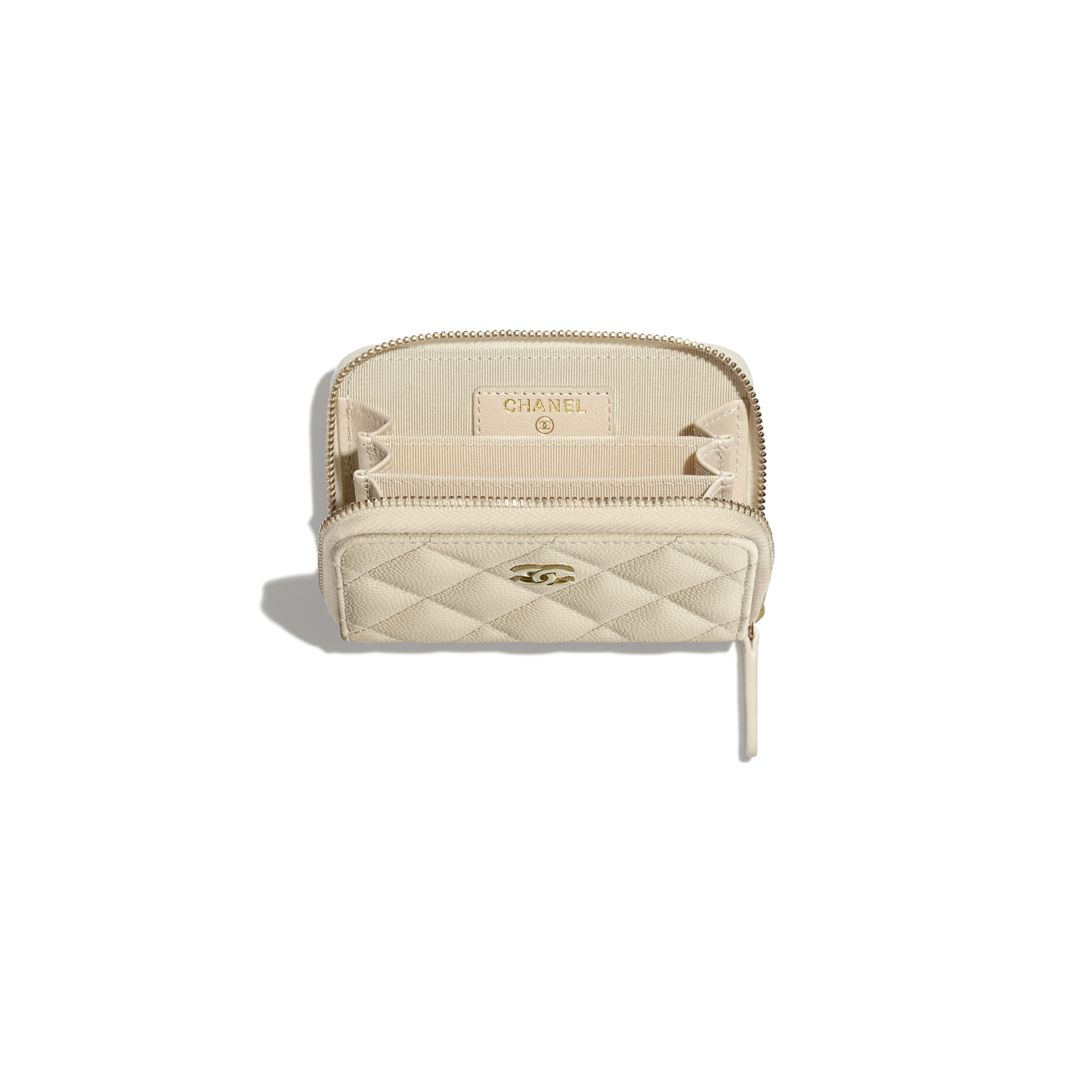 Classic Zipped Coin Purse - Light Beige - Grained Calfskin & Gold-Tone Metal - Other view - see standard sized version