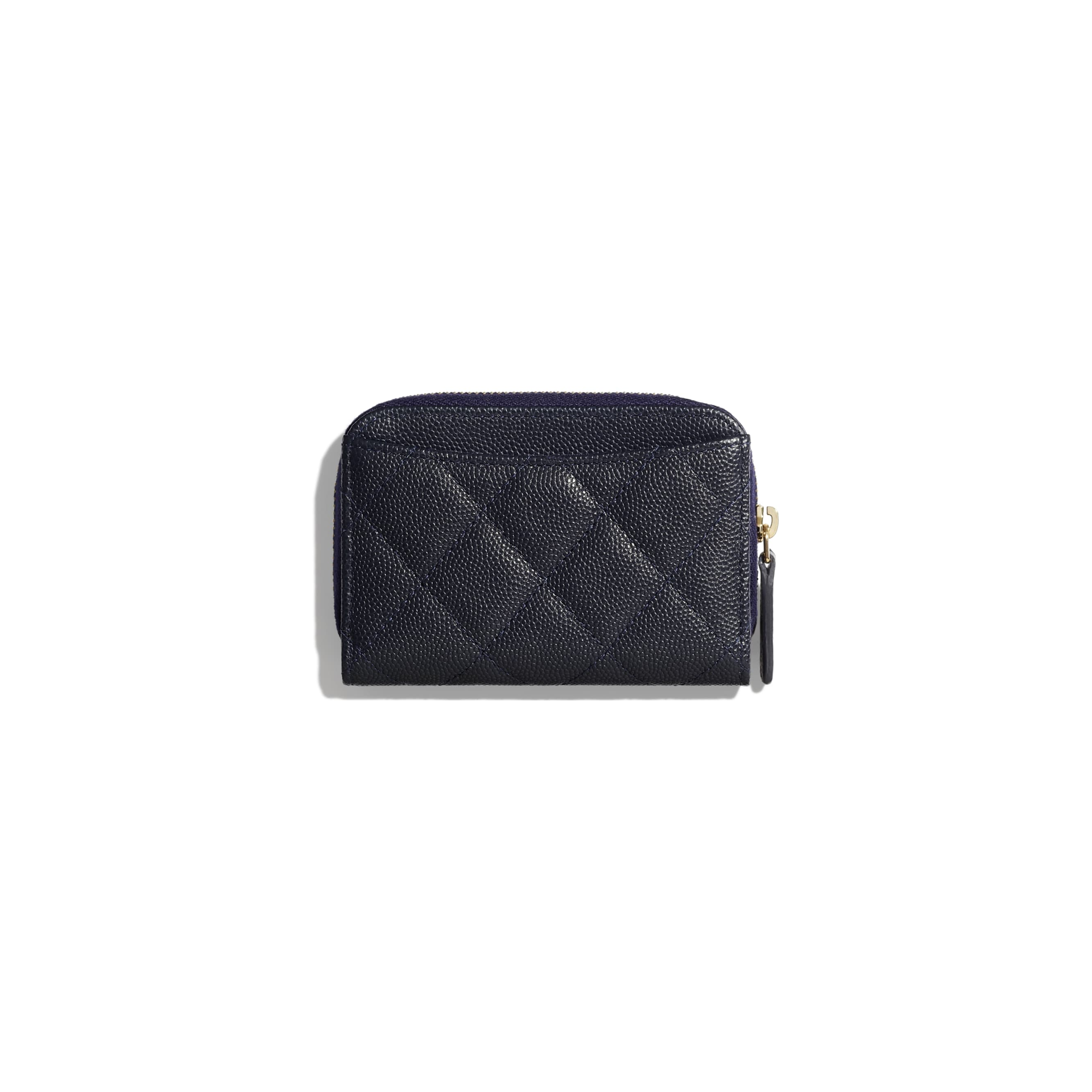 Classic Zipped Coin Purse - Navy Blue - Grained Calfskin & Gold-Tone Metal - Alternative view - see standard sized version