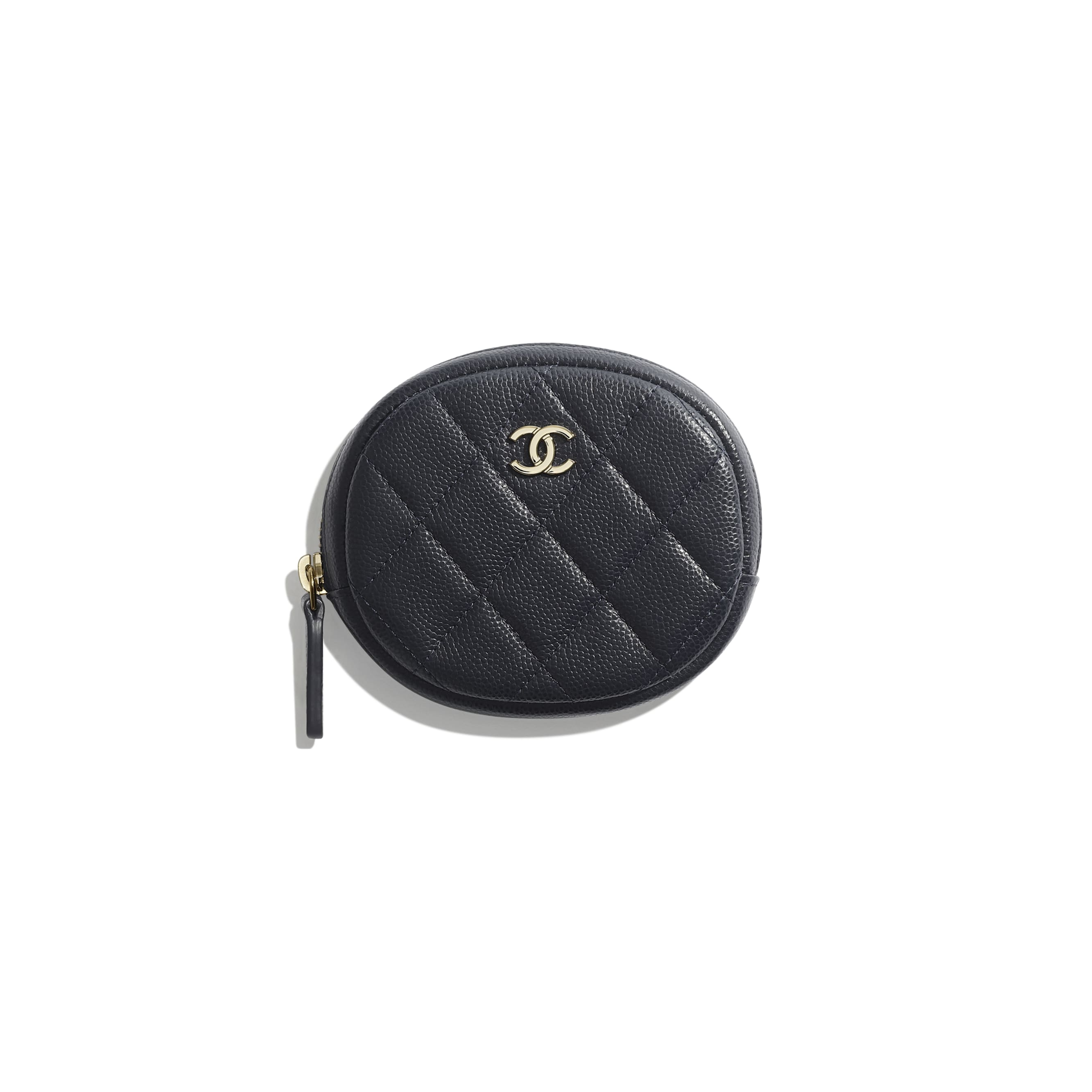 Classic Zipped Coin Purse - Navy Blue - Grained Calfskin & Gold-Tone Metal - Default view - see standard sized version