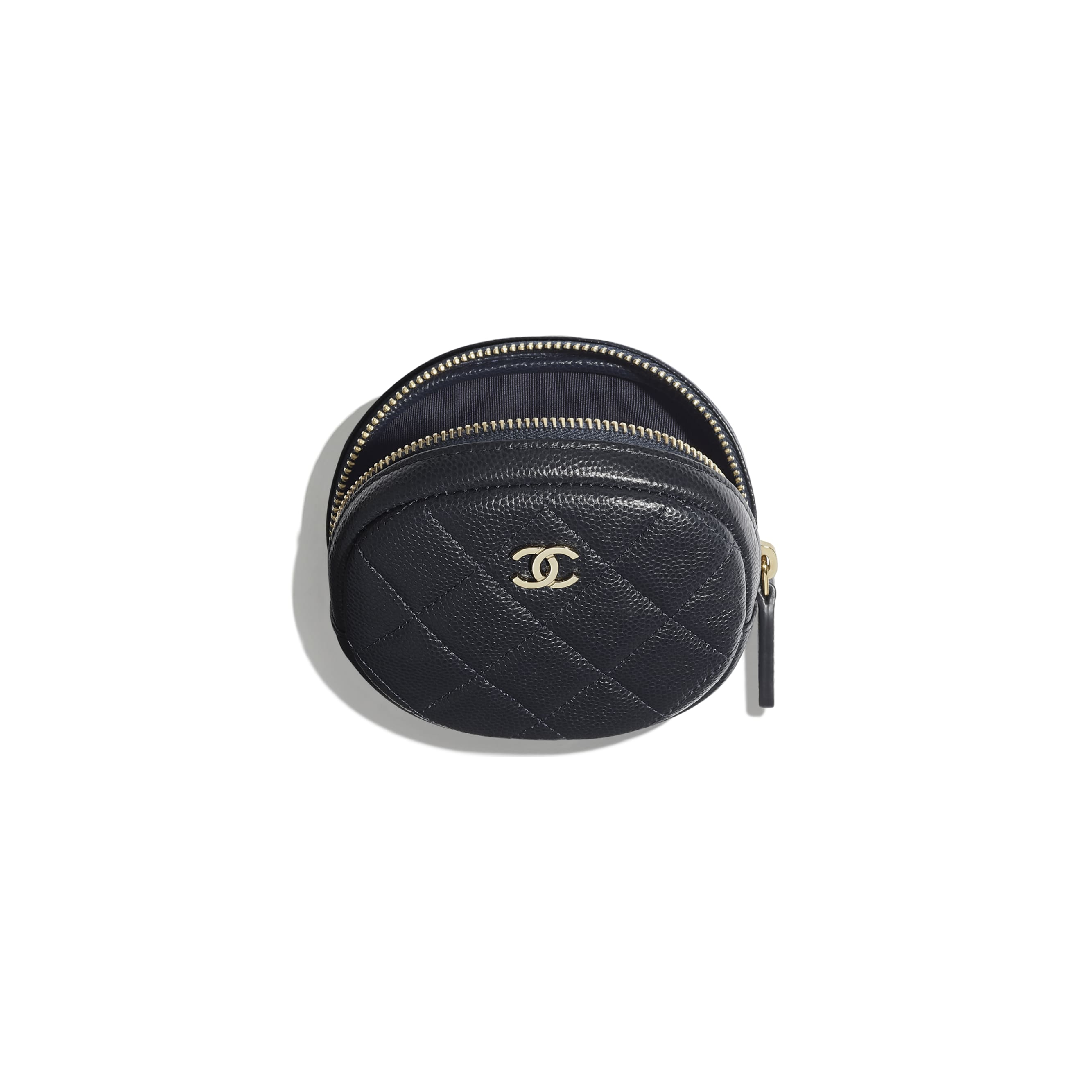 Classic Zipped Coin Purse - Navy Blue - Grained Calfskin & Gold-Tone Metal - Other view - see standard sized version