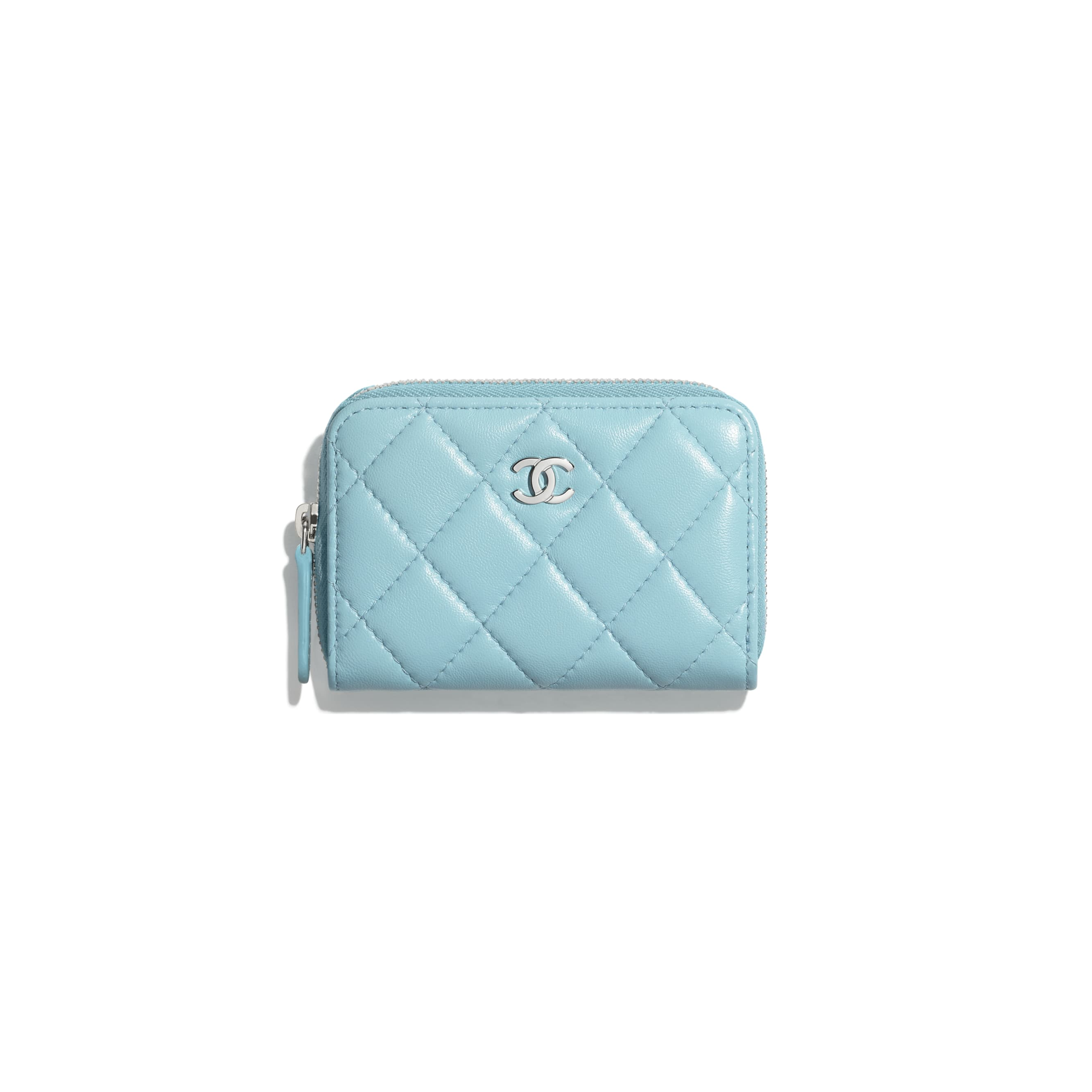 Classic Zipped Coin Purse - Neon Blue - Lambskin & Silver-Tone Metal - CHANEL - Default view - see standard sized version