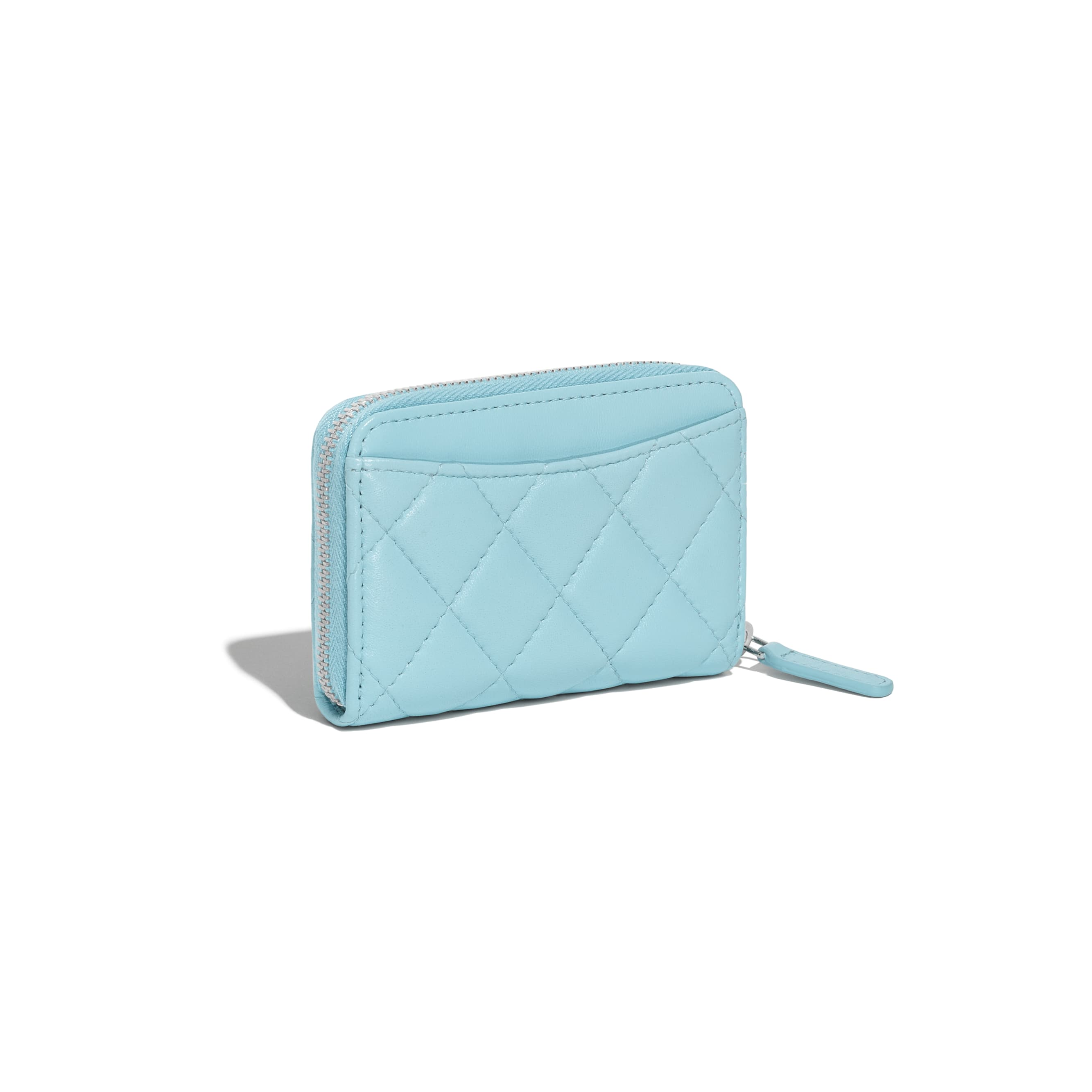 Classic Zipped Coin Purse - Neon Blue - Lambskin & Silver-Tone Metal - CHANEL - Extra view - see standard sized version