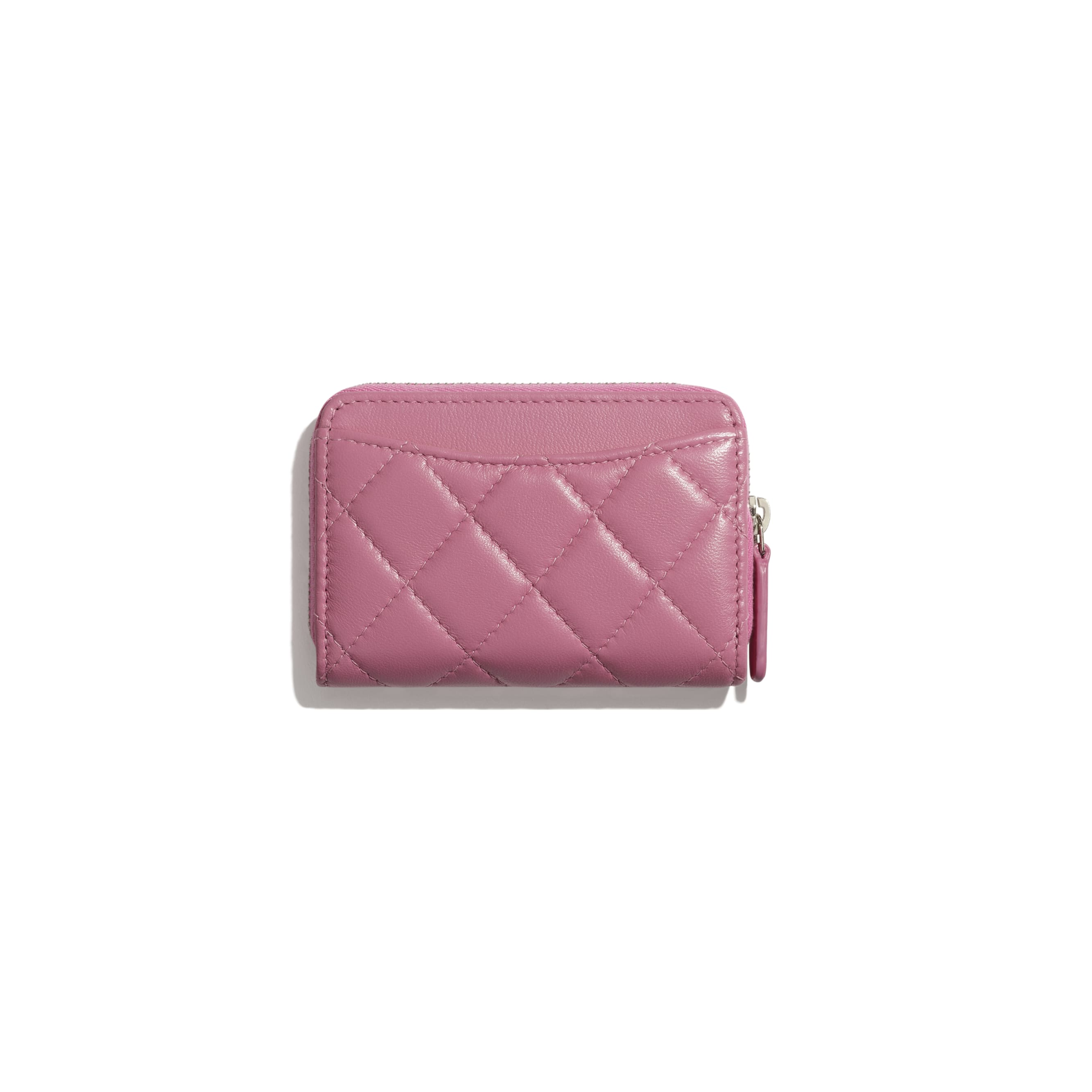 Classic Zipped Coin Purse - Pink - Lambskin & Rainbow Metal - CHANEL - Alternative view - see standard sized version