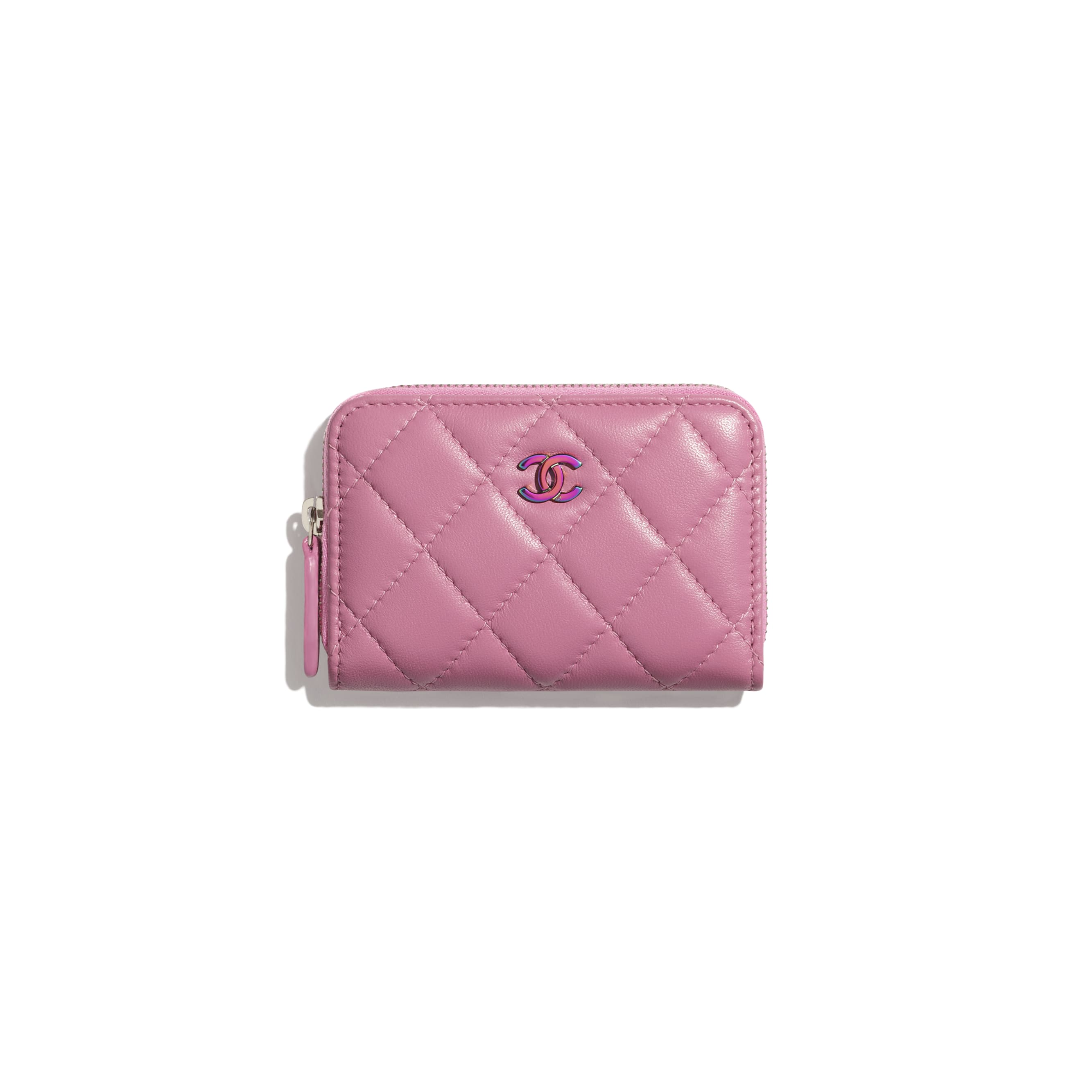Classic Zipped Coin Purse - Pink - Lambskin & Rainbow Metal - CHANEL - Default view - see standard sized version