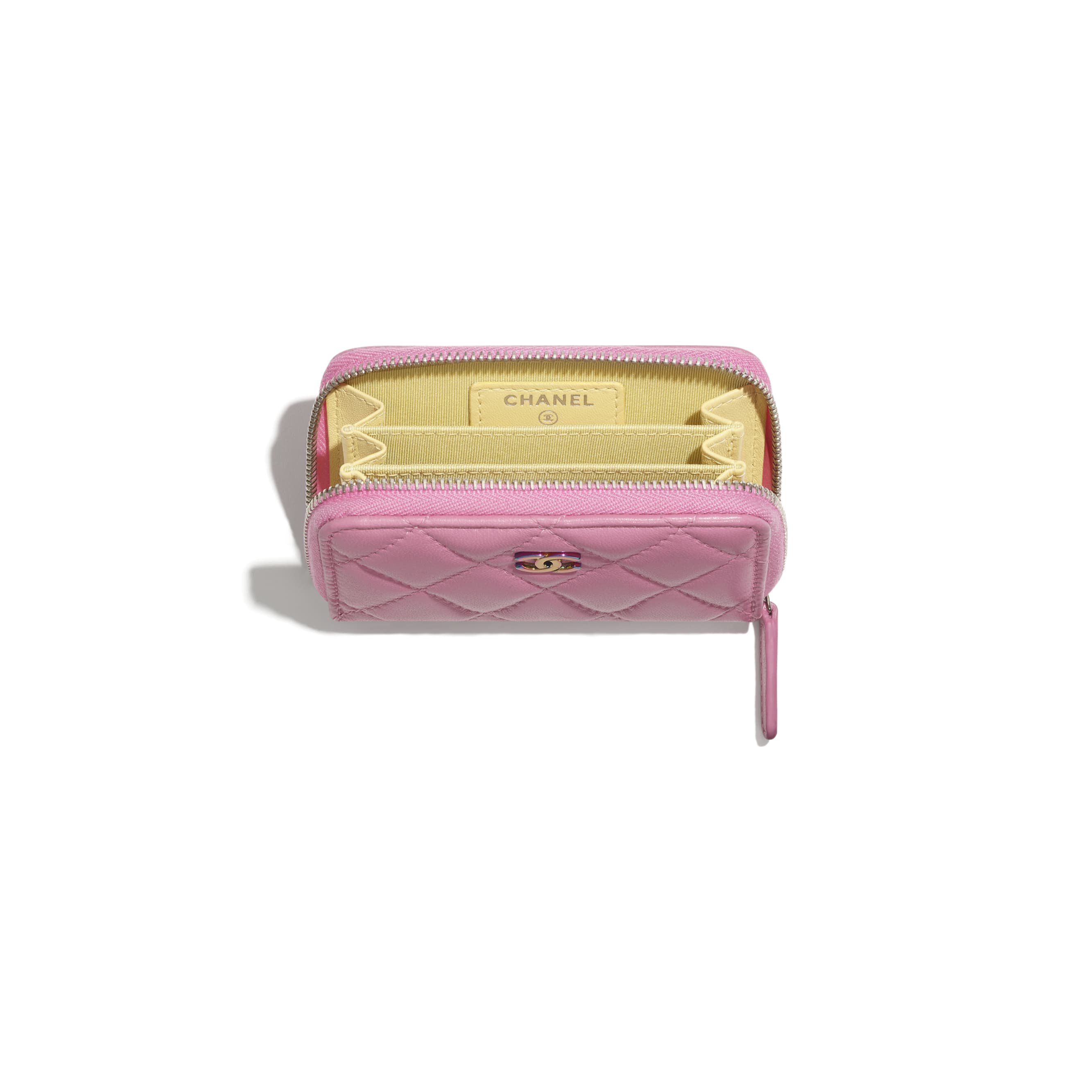 Classic Zipped Coin Purse - Pink - Lambskin & Rainbow Metal - CHANEL - Other view - see standard sized version