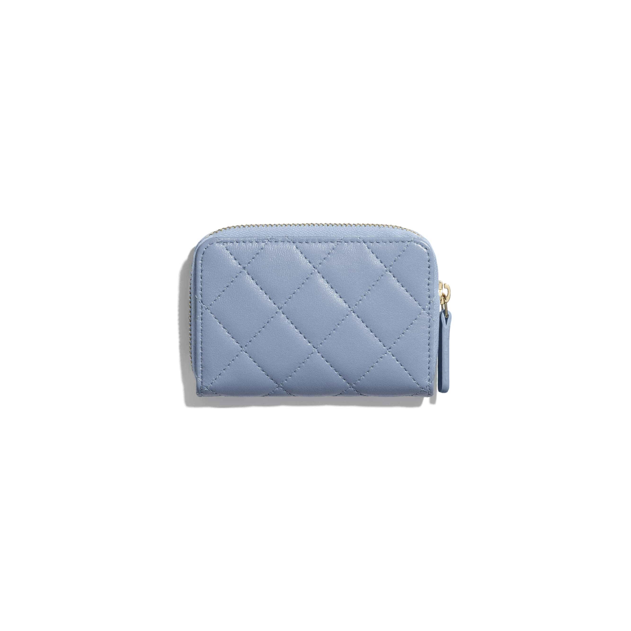Classic Zipped Coin Purse - Sky Blue - Lambskin - CHANEL - Alternative view - see standard sized version