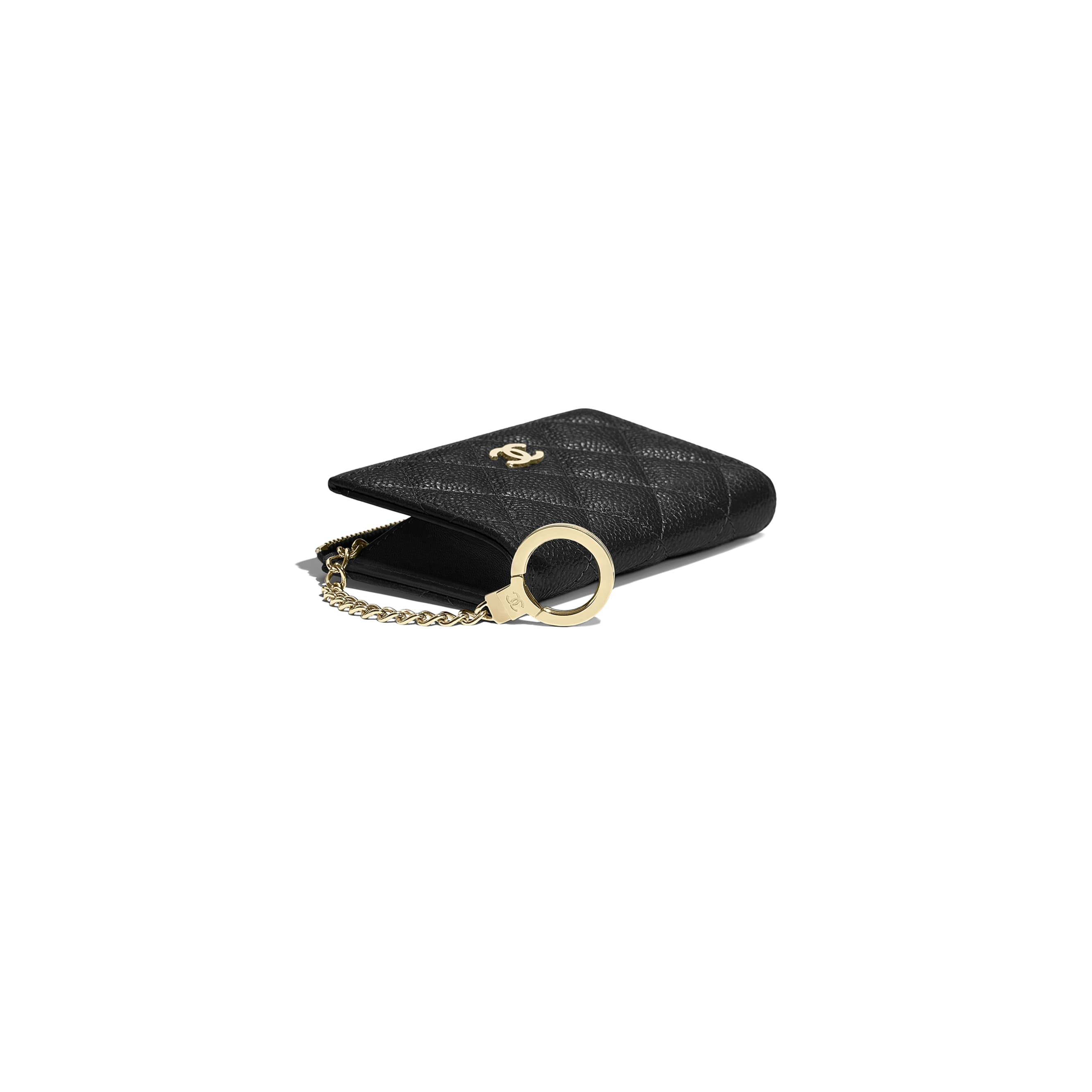 Classic Zipped Key Holder - Black - Grained Calfskin & Gold-Tone Metal - Other view - see standard sized version