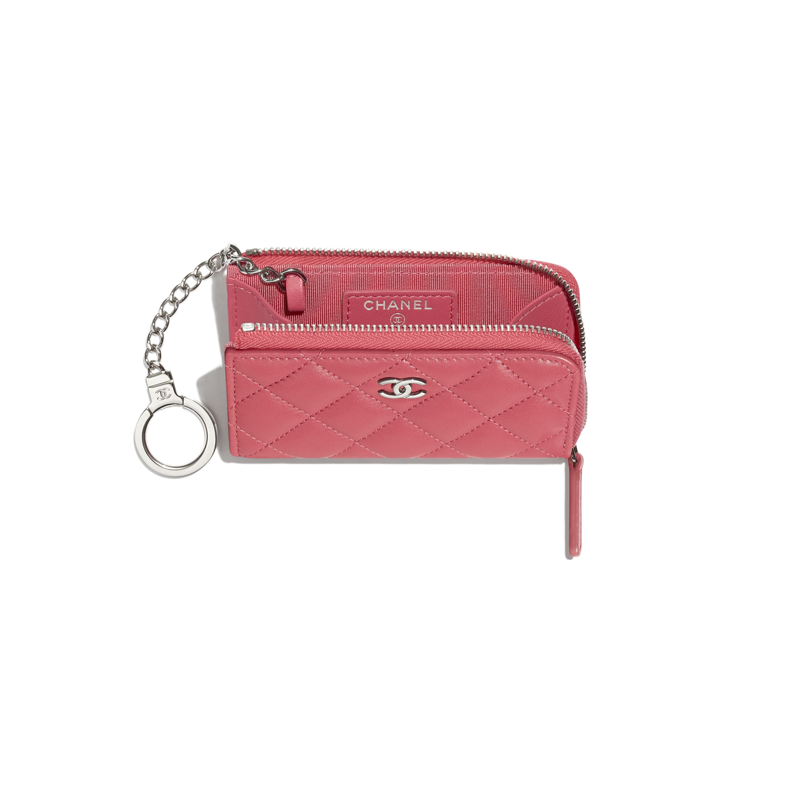 Classic Zipped Key Holder - Pink - Lambskin & Silver-Tone Metal - CHANEL - Other view - see standard sized version