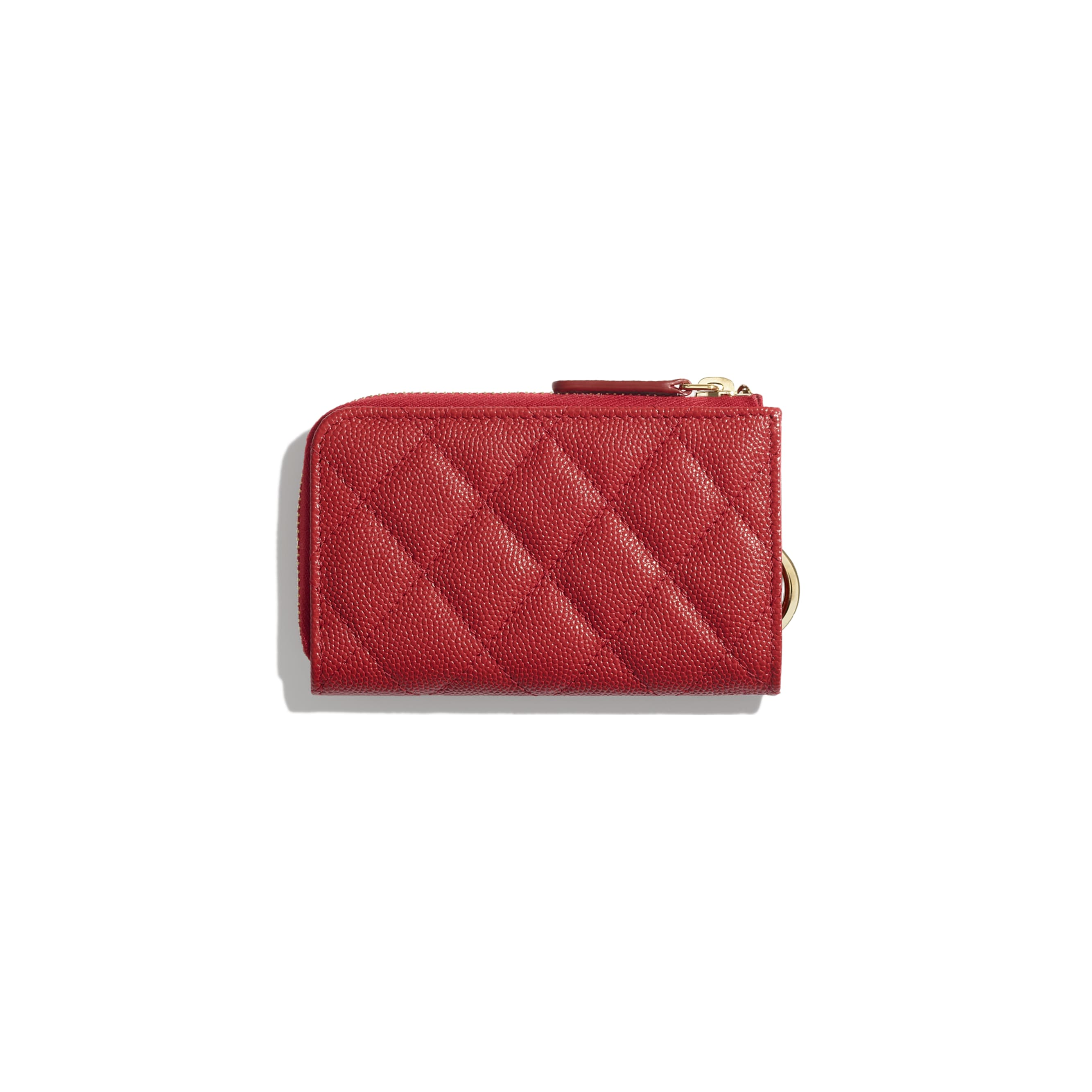 Classic Zipped Key Holder - Red - Grained Calfskin & Gold-Tone Metal - Alternative view - see standard sized version