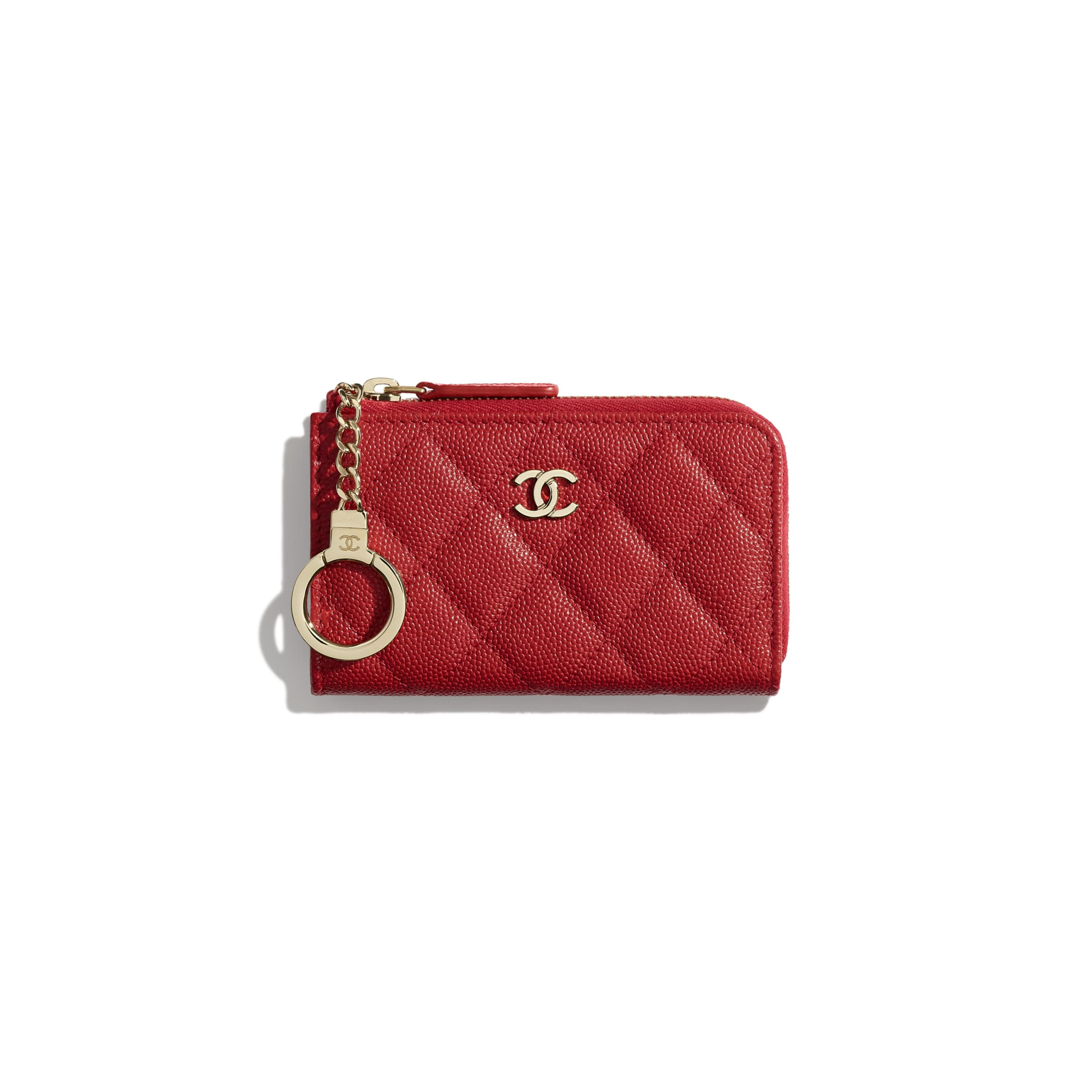 Classic Zipped Key Holder - Red - Grained Calfskin & Gold-Tone Metal - Default view - see standard sized version