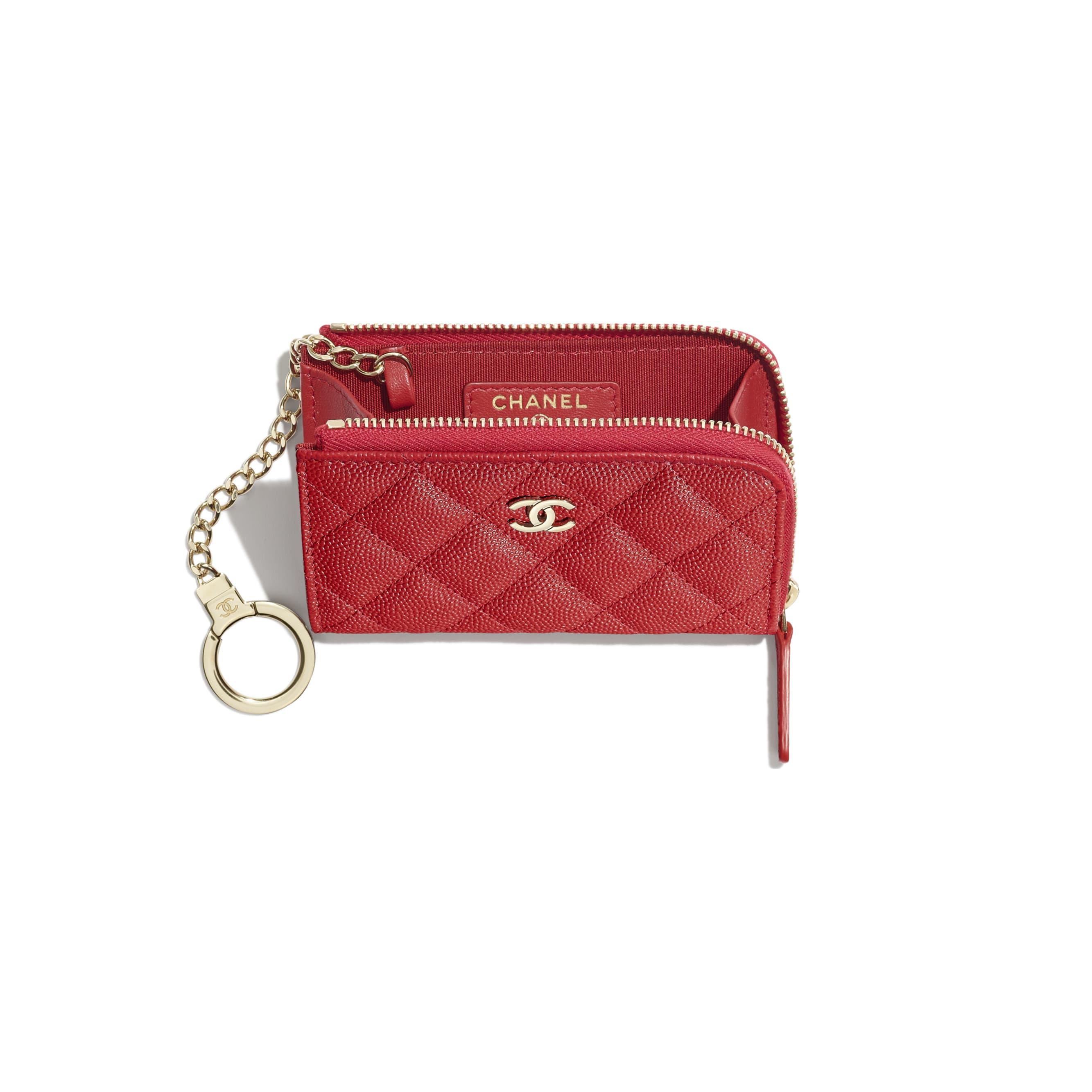 Classic Zipped Key Holder - Red - Grained Calfskin & Gold-Tone Metal - Other view - see standard sized version