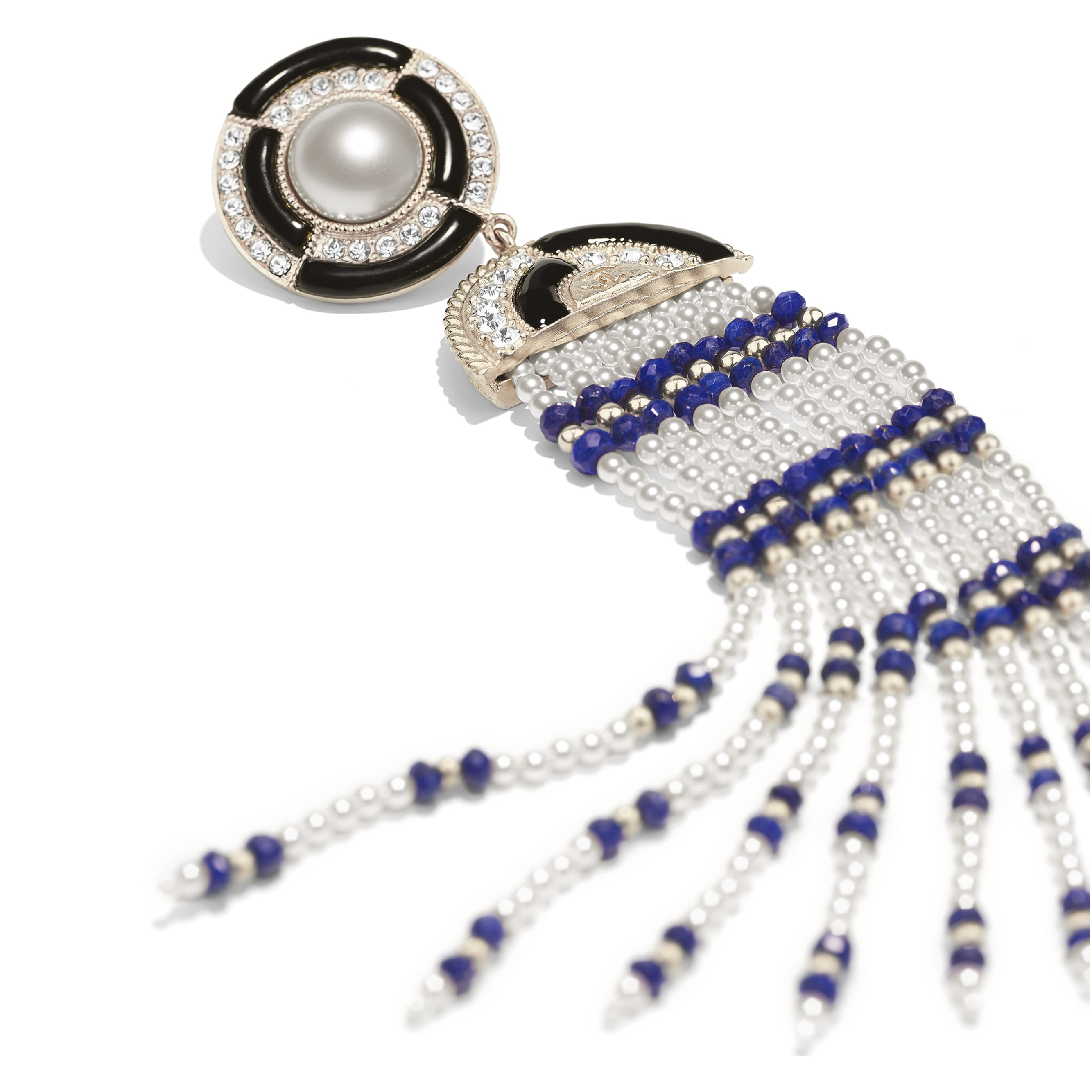 Clip-on Earrings - Gold, Black, Blue, Pearly White & Crystal - Metal, Natural Stones, Glass Pearls, Strass & Resin - Alternative view - see standard sized version