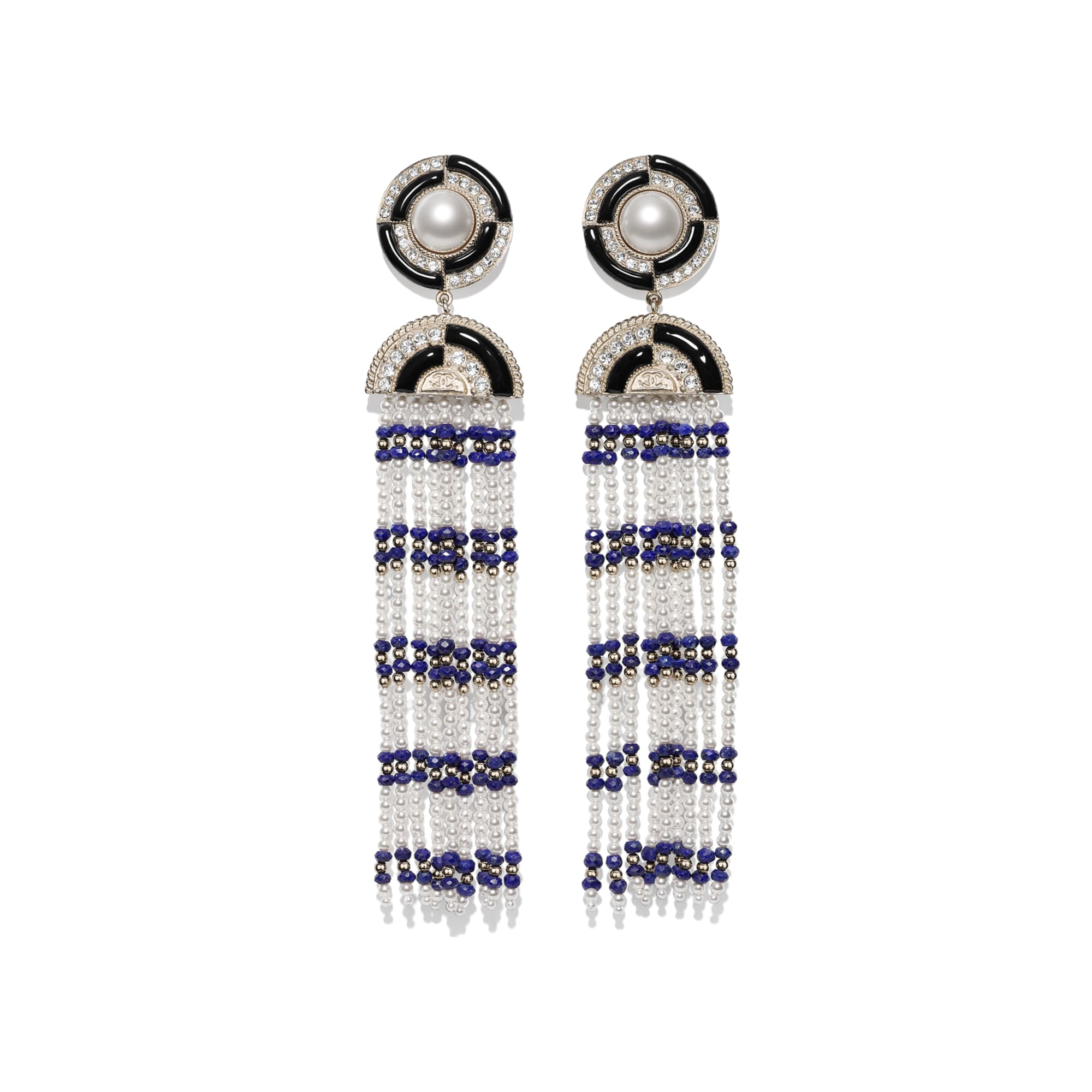 Clip-on Earrings - Gold, Black, Blue, Pearly White & Crystal - Metal, Natural Stones, Glass Pearls, Strass & Resin - Default view - see standard sized version