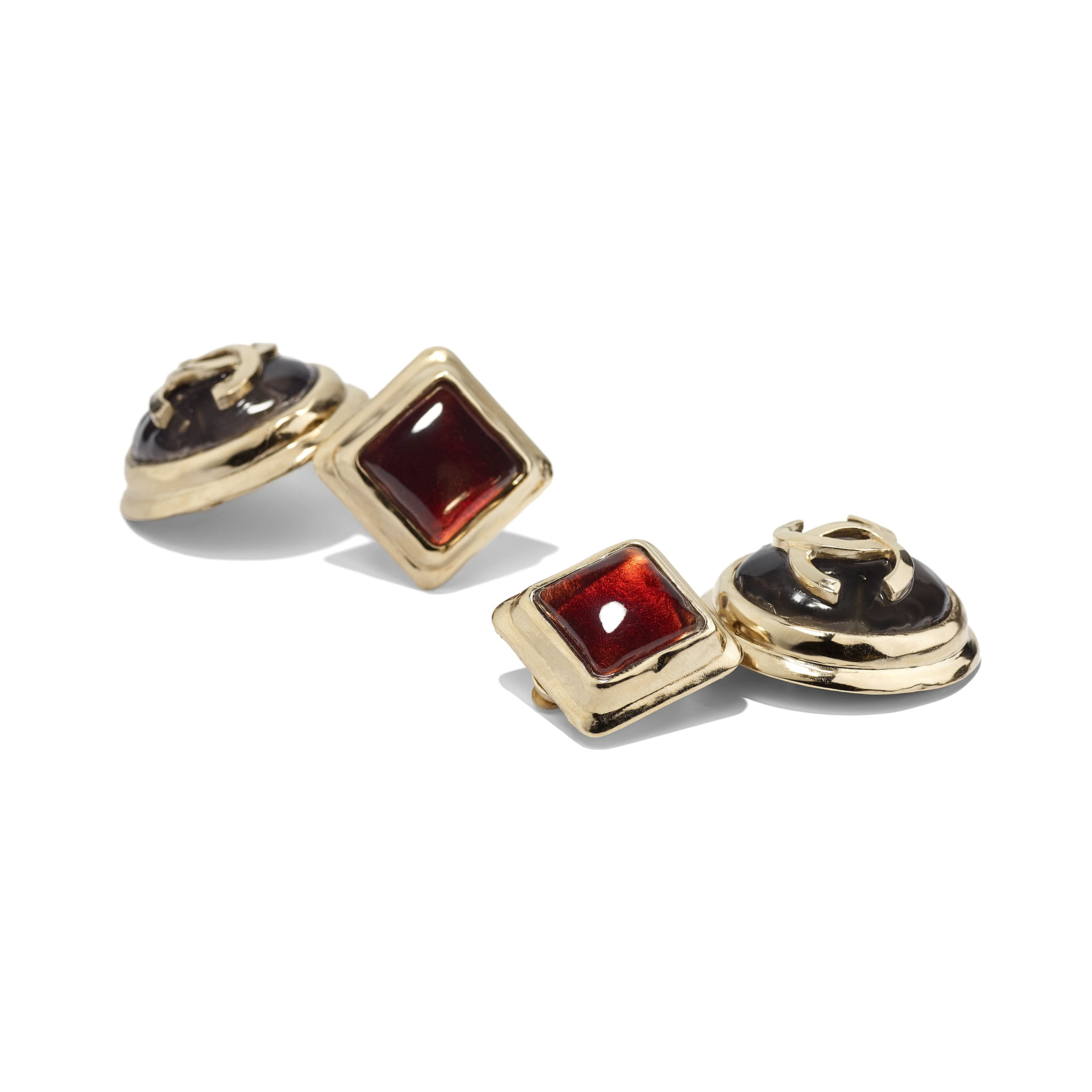 Clip-On Earrings - Gold, Black & Burgundy - Metal & Resin - Alternative view - see standard sized version